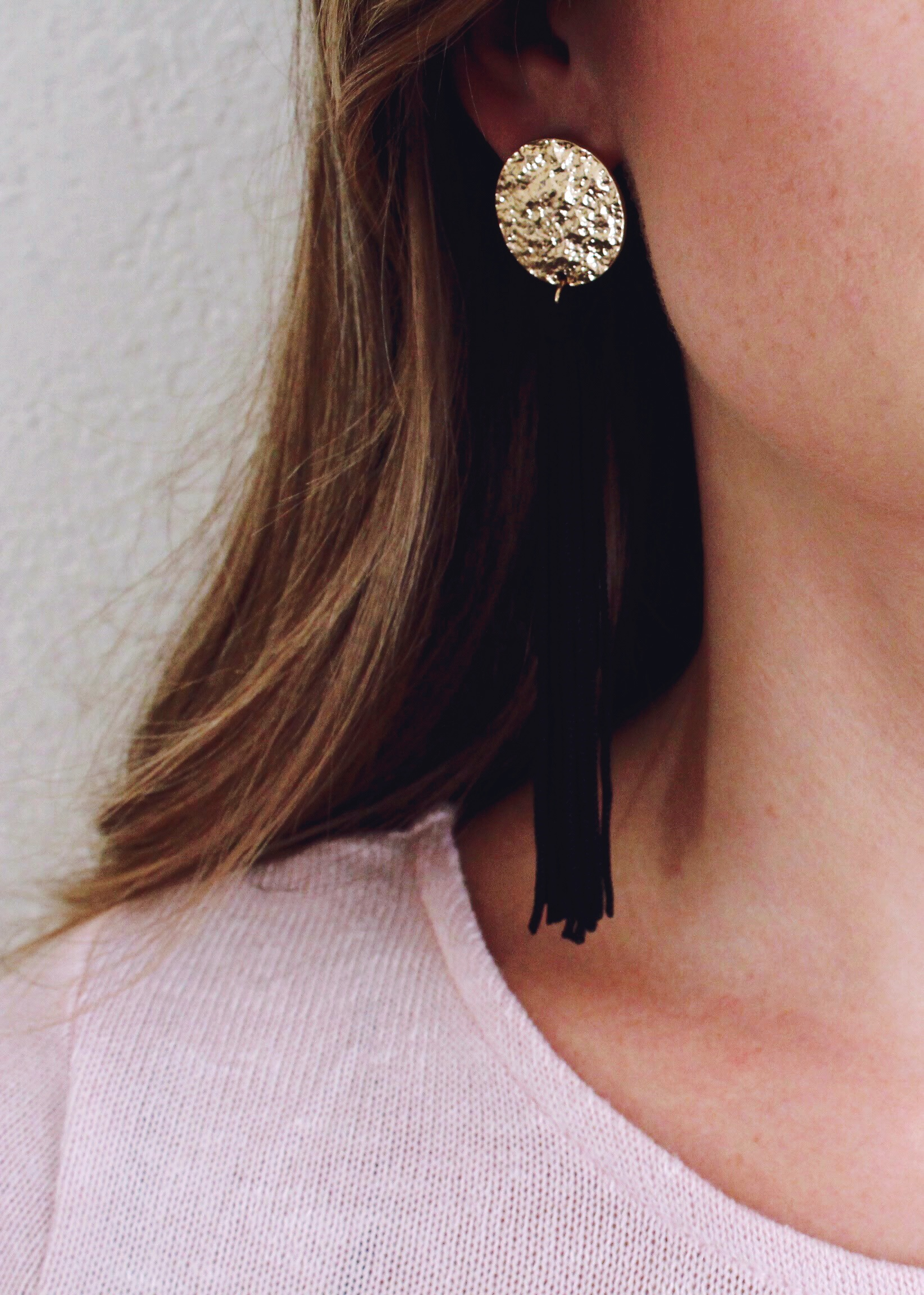Black Tassel Statement Earrings