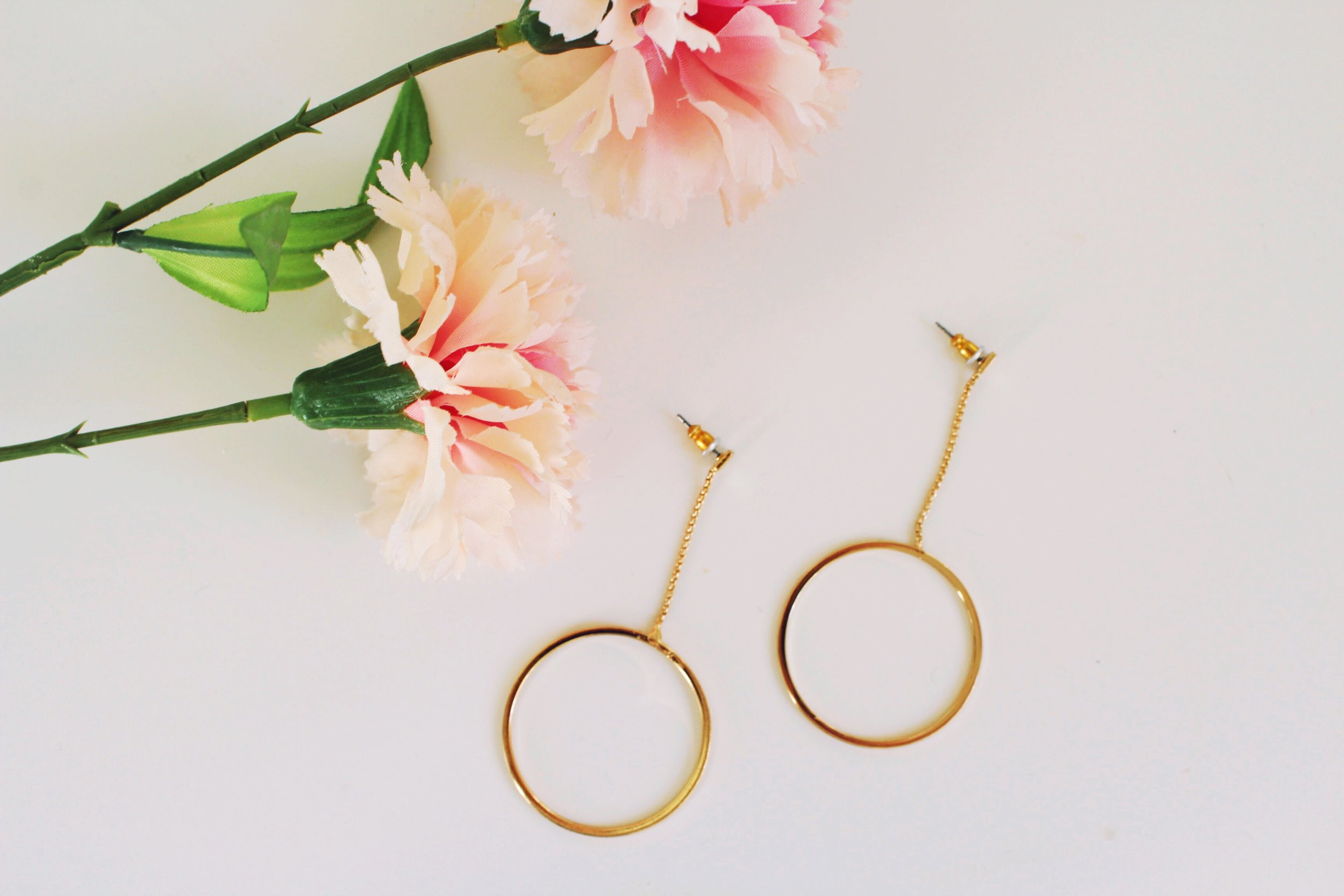Gold Dangle Hoop Statement Earrings