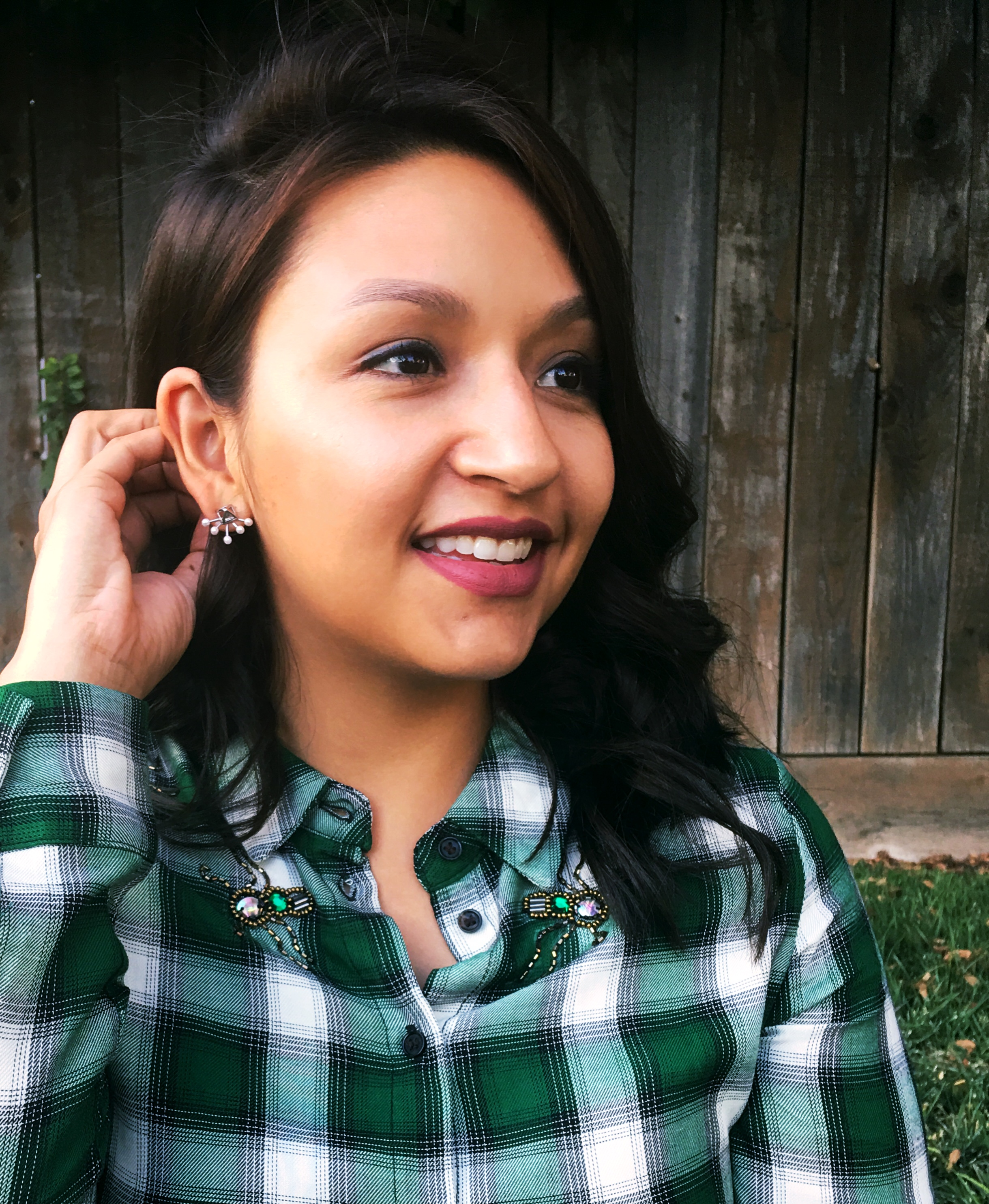 Green Plaid Flannel / Rebecca Minkoff Statement Earrings