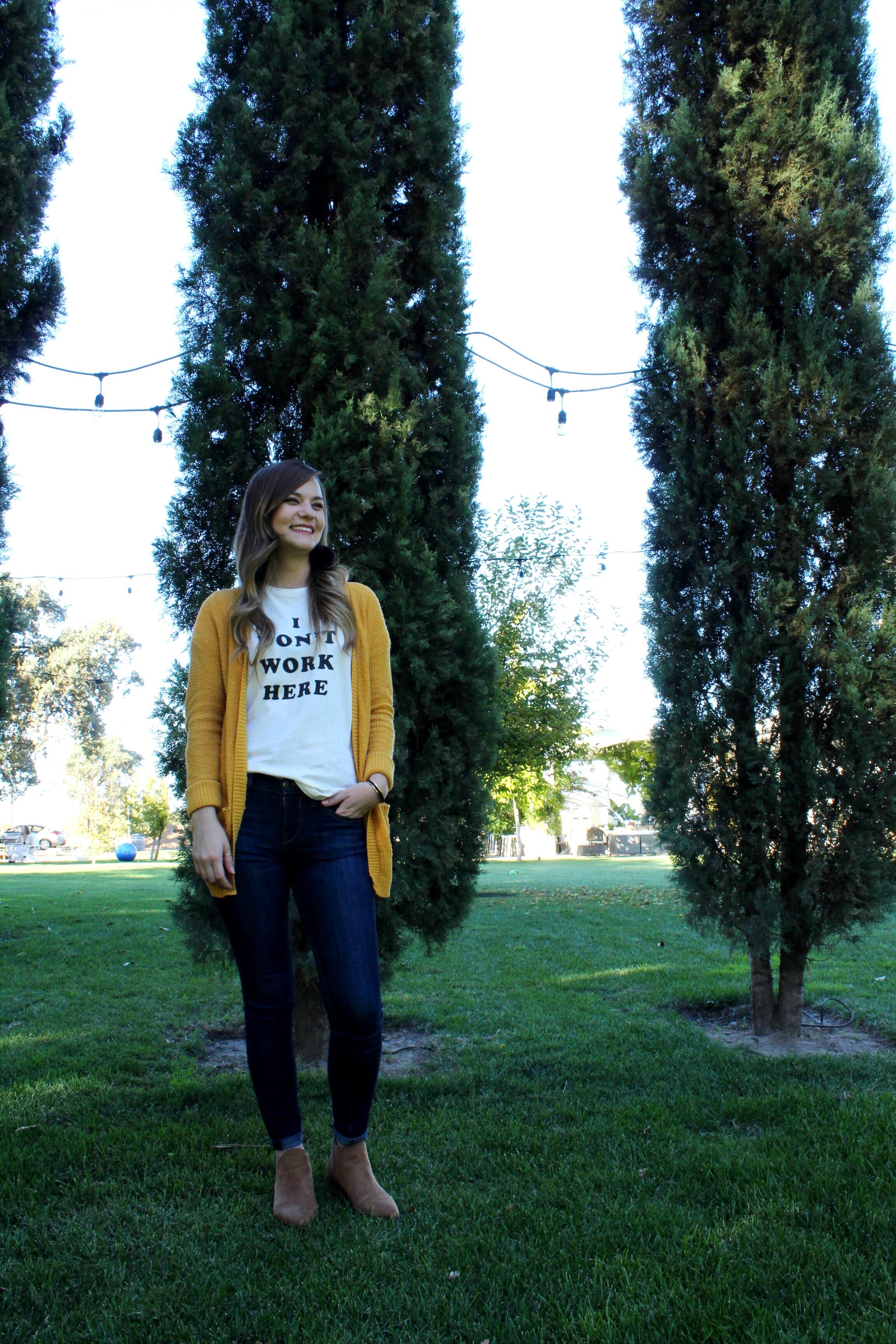 Bands Graphic Tee Shirt mustard yellow cardigan Lodi California Winery