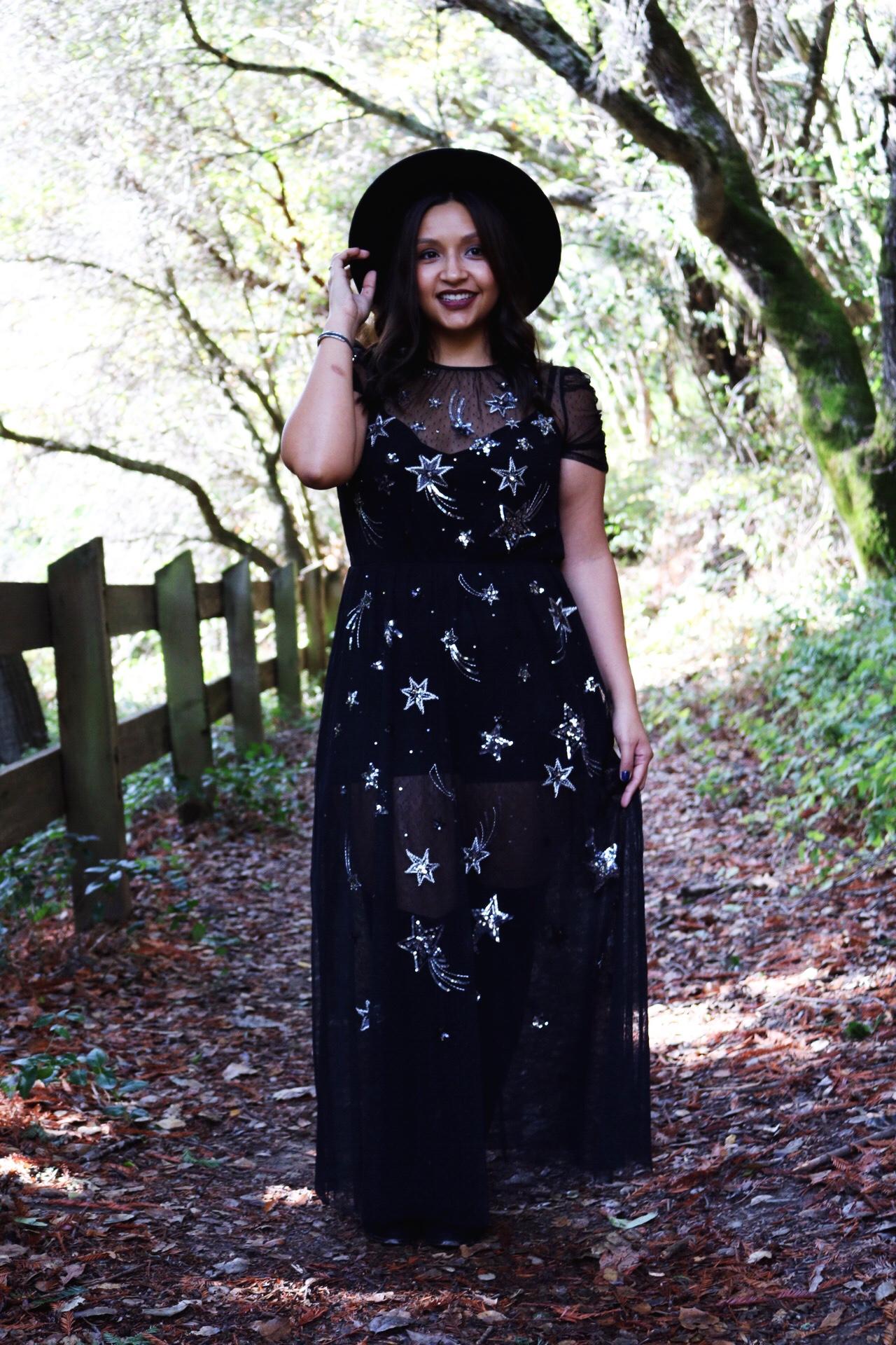 Black mesh sparkle dress wide brimmed fedora