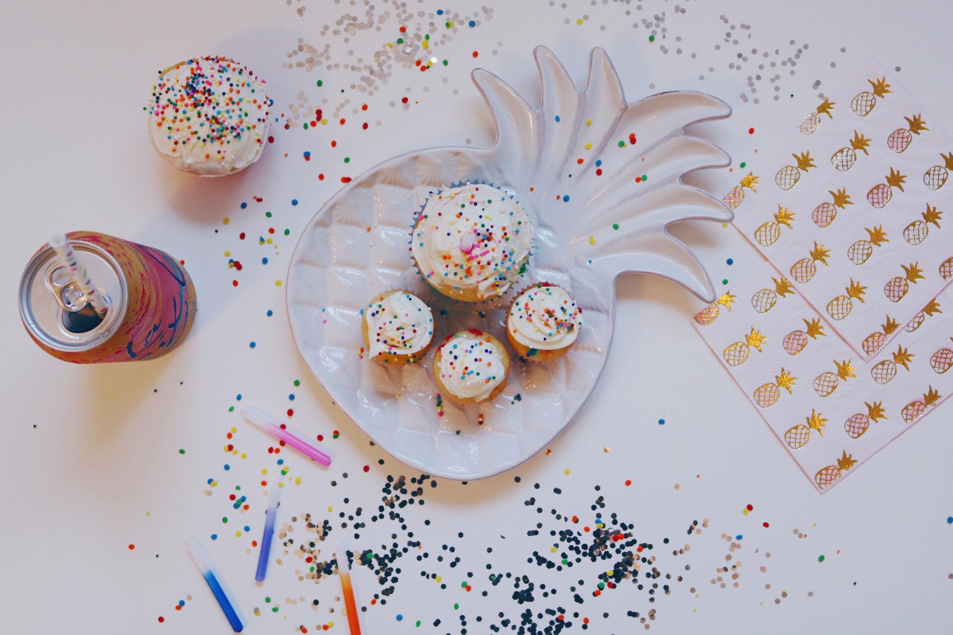 Happy Birthday cupcakes pineapple serving platter
