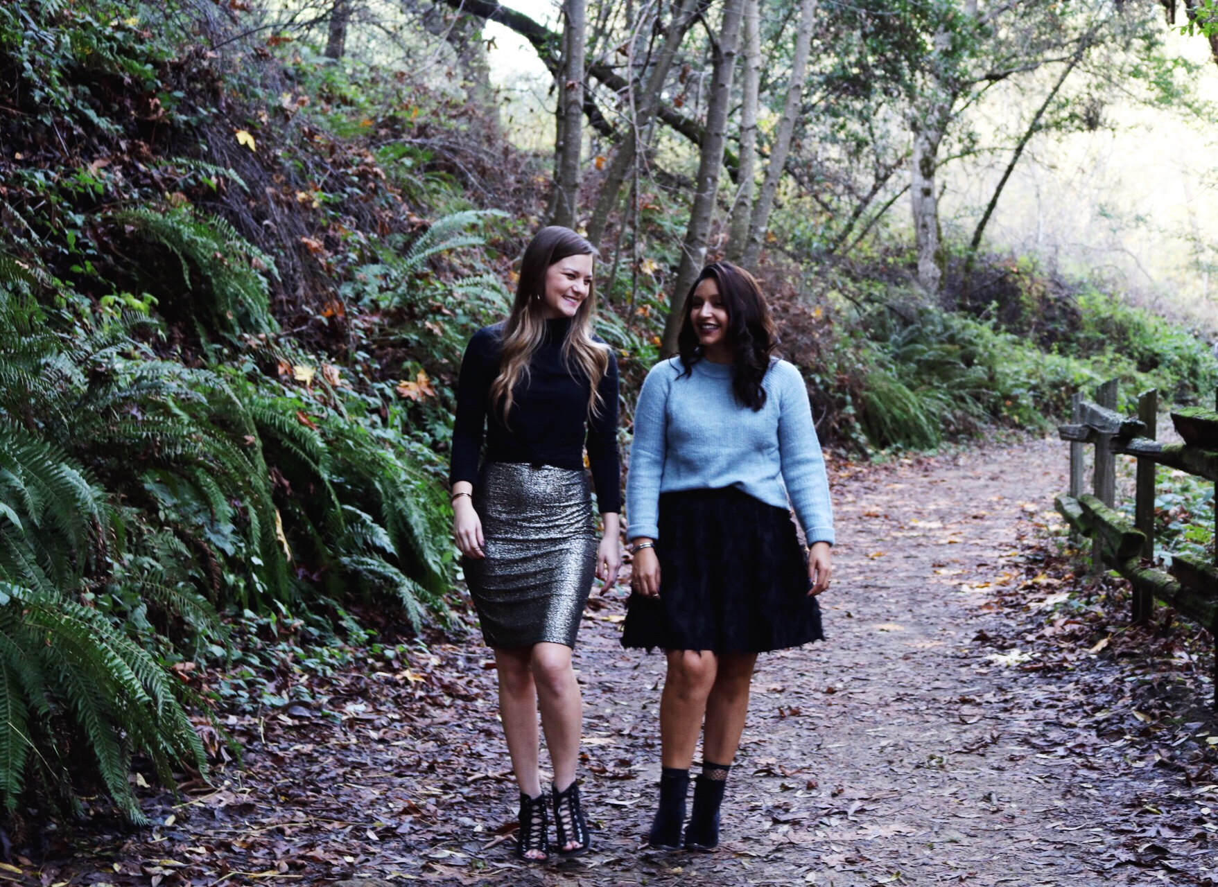 Gold glitter skirt, black turtle neck ice blue sweater skater skirt