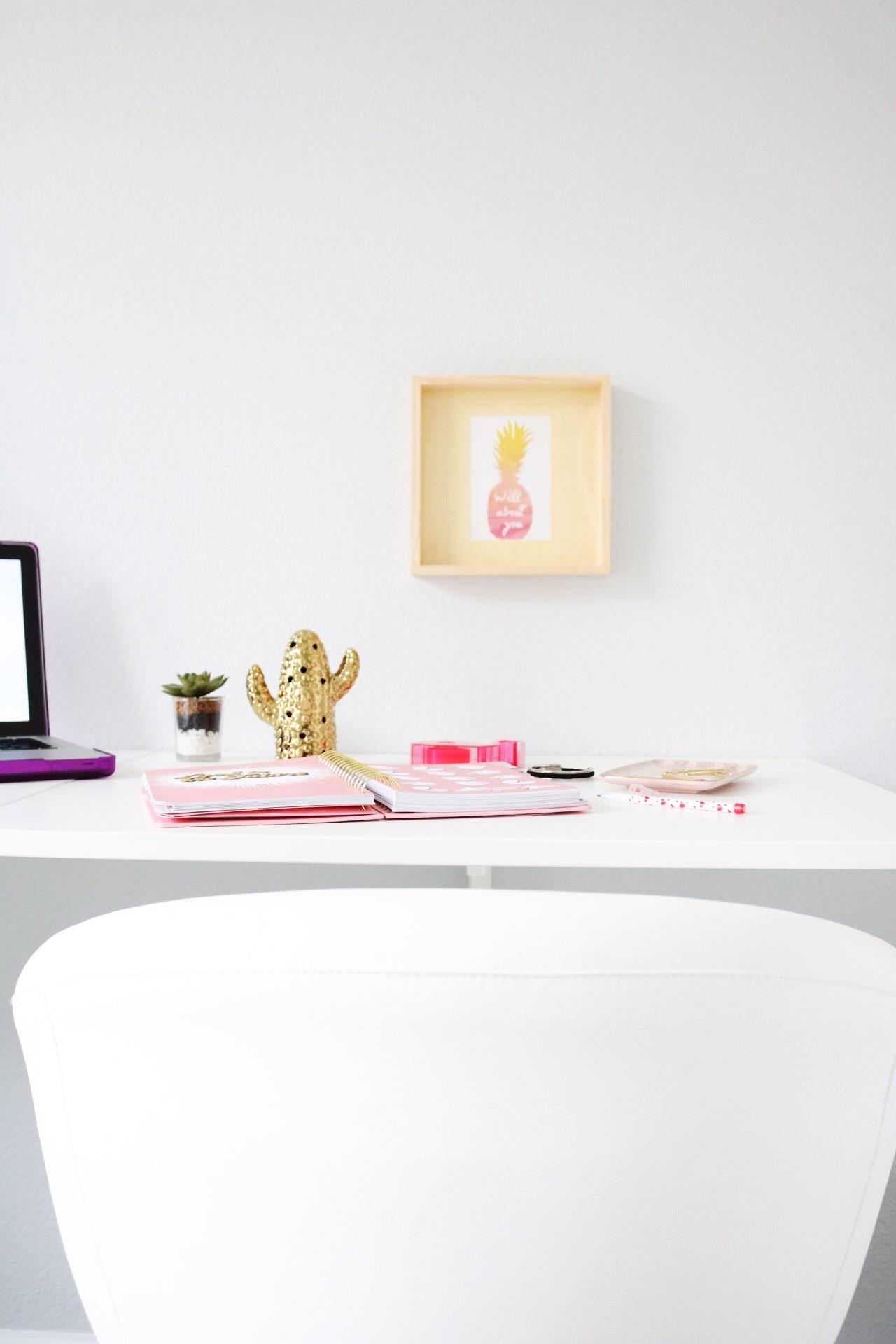 Gold cactus statue, white Ikea Swivel chair Bando Planner