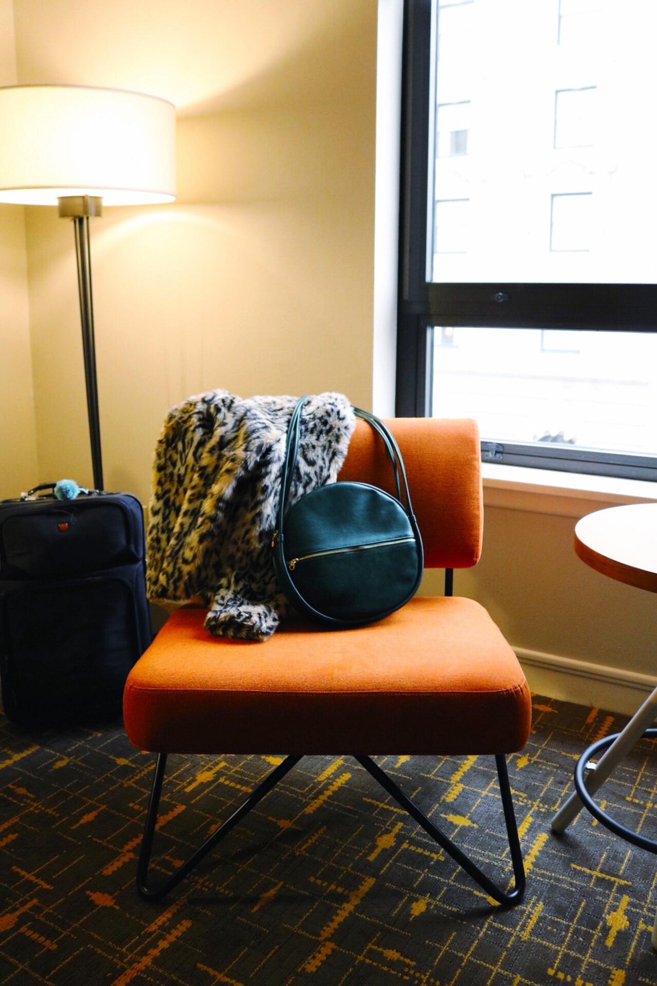 Travel, orange modern chair, San Francisco Hotel, Stanford Court Inn, Ban.do bag, cheetah jacket