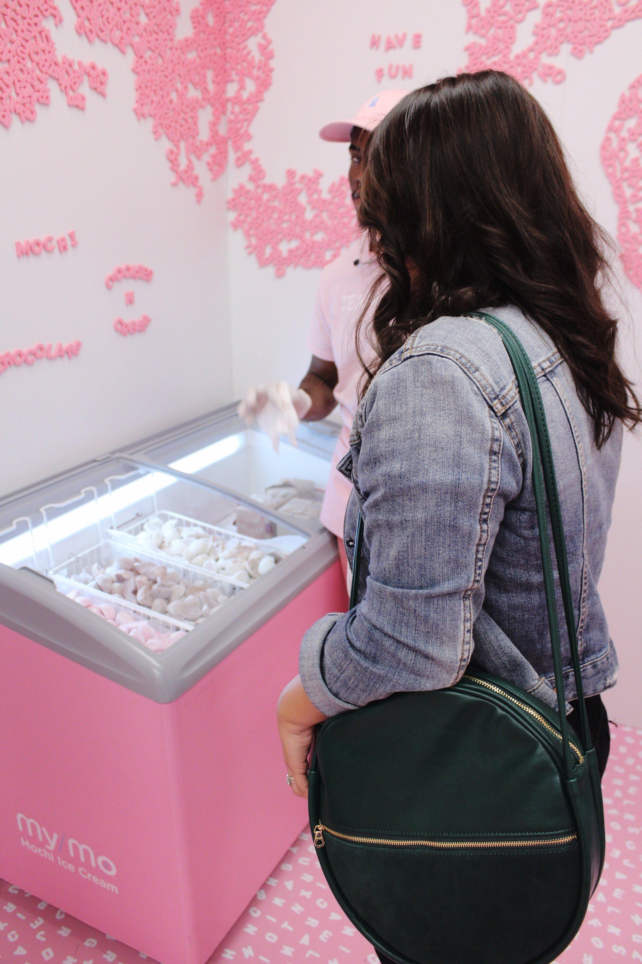 Ban.do bag, denim jacket, museum of ice cream, mochi, pink magnetic letters
