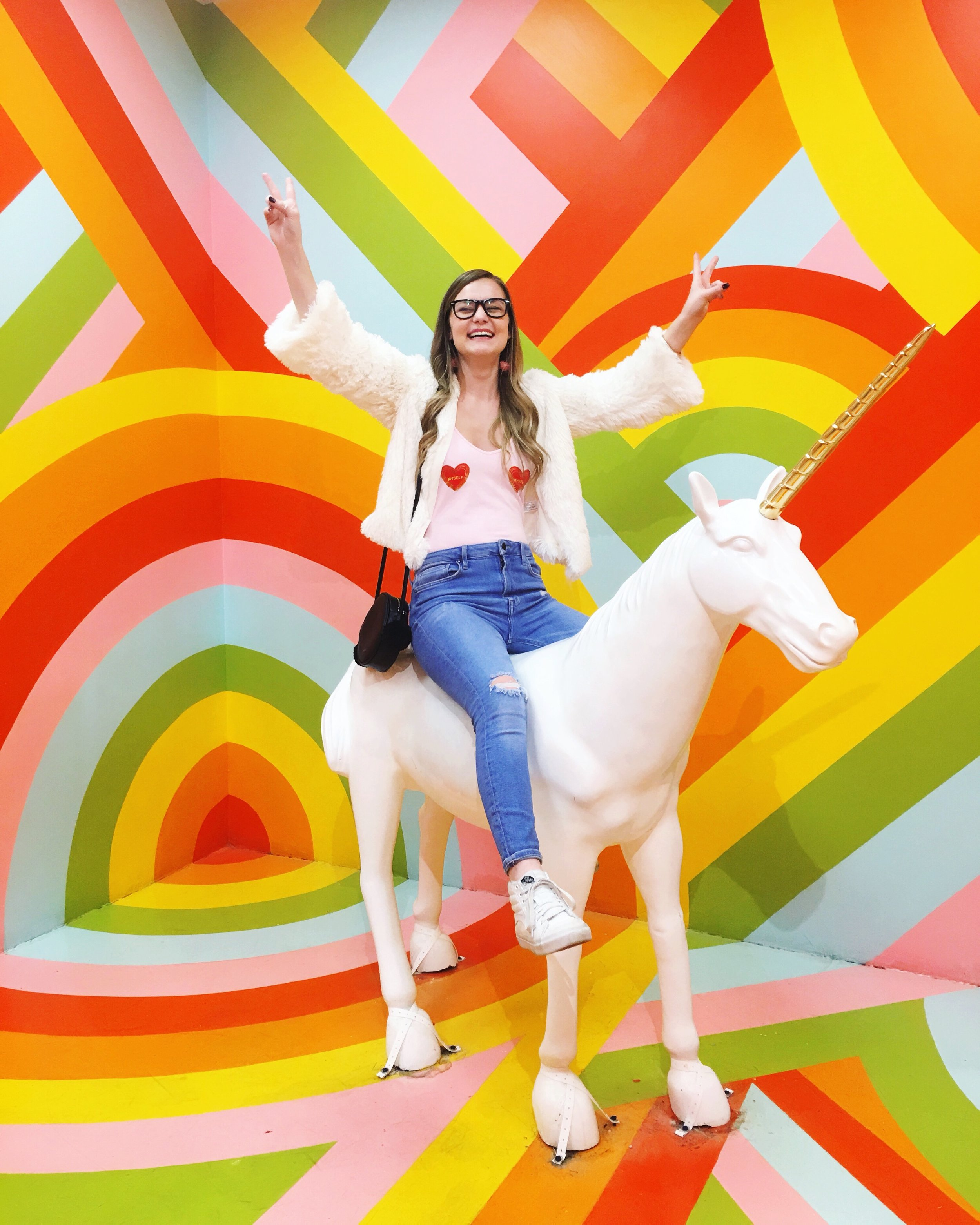 Unicorn, white fur jacket with white Vans, Museum of Ice Cream, Ban.do Bag