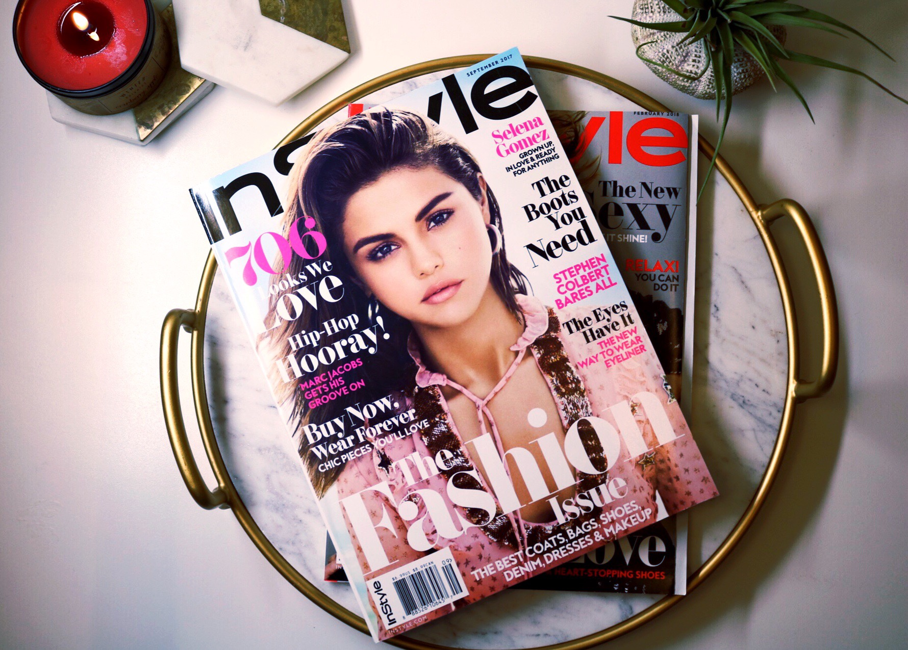 Staycation, Selena Gomez, magazines, InStyle, Marble serving tray, succulent