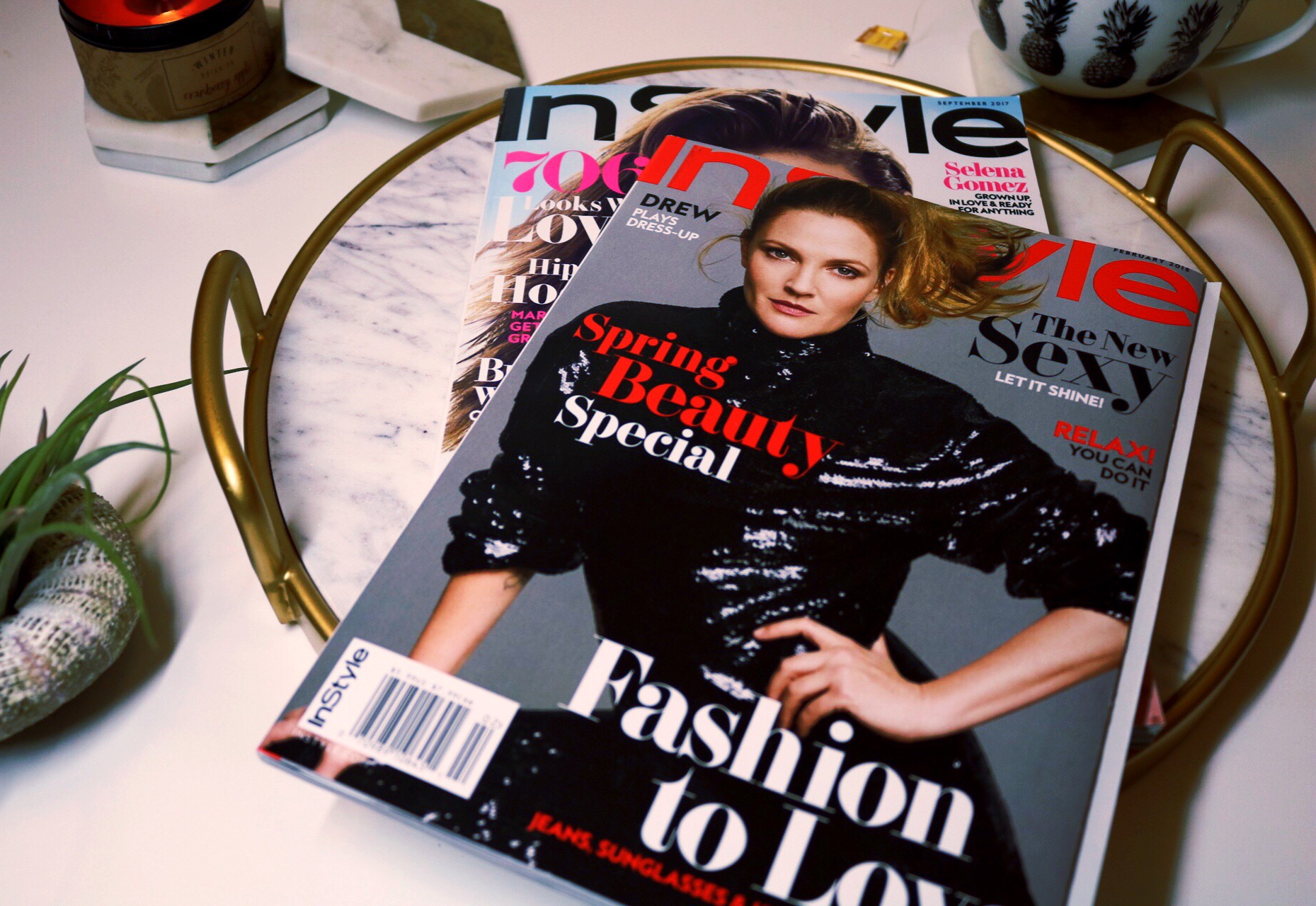 Drew Barrymore, InStyle magazine, Succulents, staycation ideas