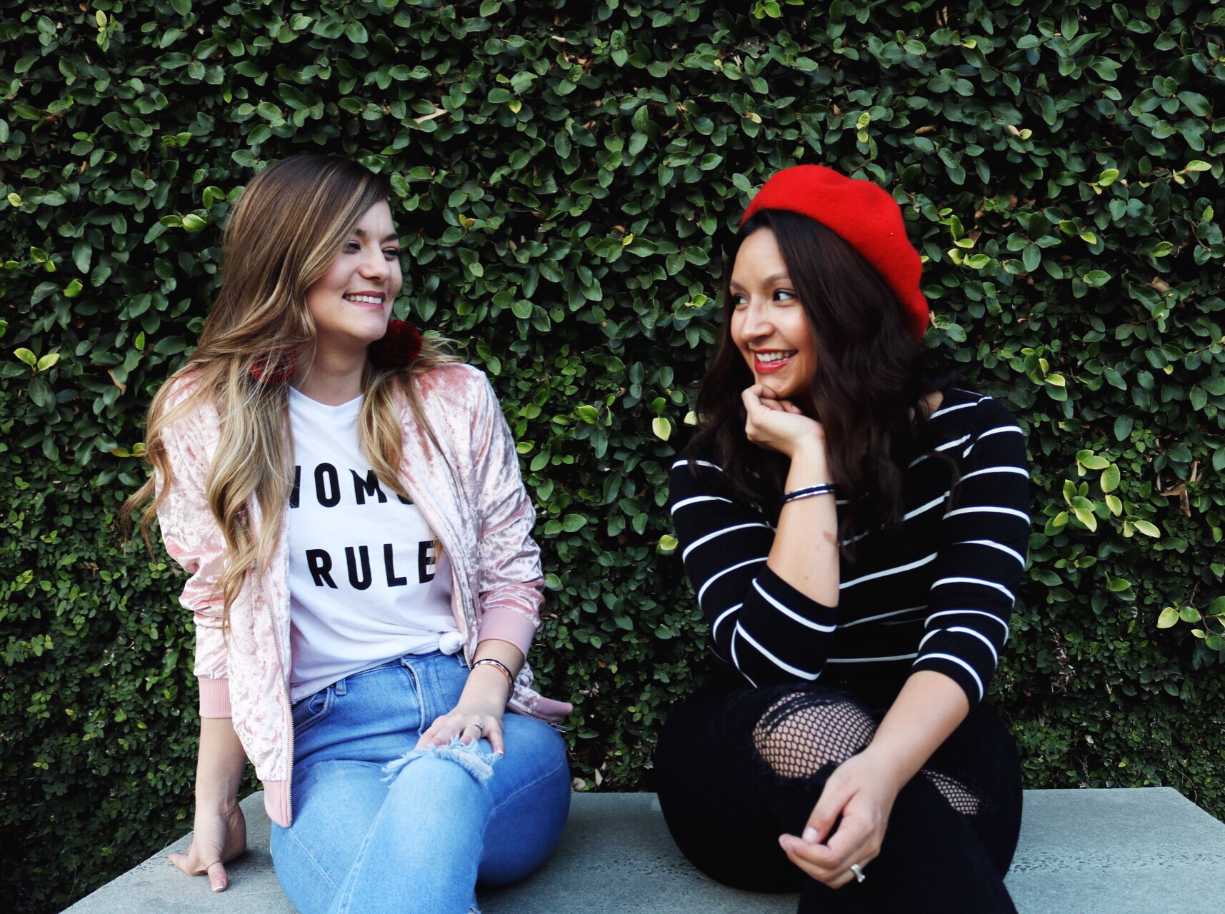 Women Rule Forever 21 Tee, Fish net black denim, distressed light denim, pink velvet bomber, red beret, maria shireen bracelet, Galentines Day