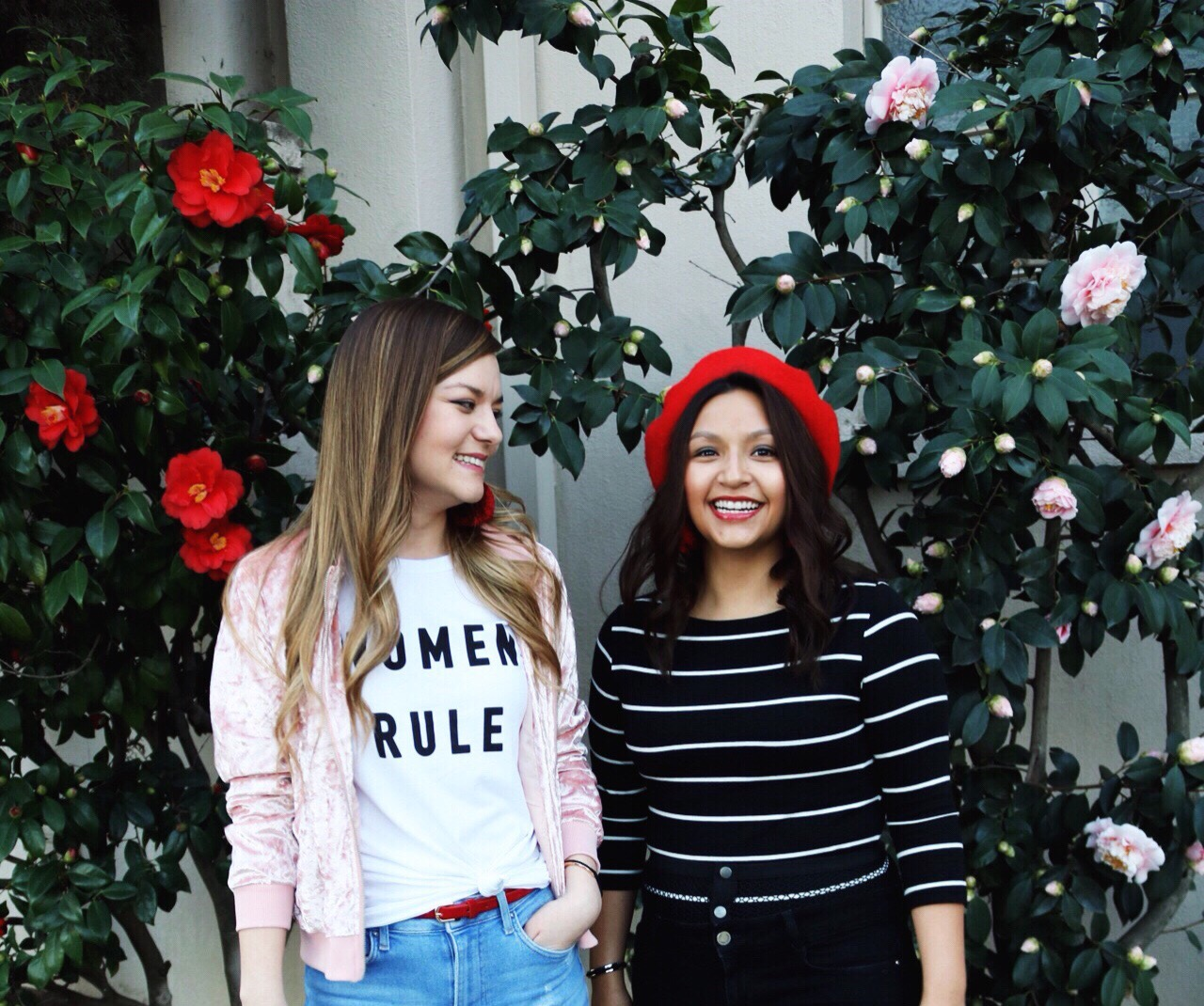 Valentines Day, Pink Velvet Bomber, Red belt, red beret, forever 21 women rule tee