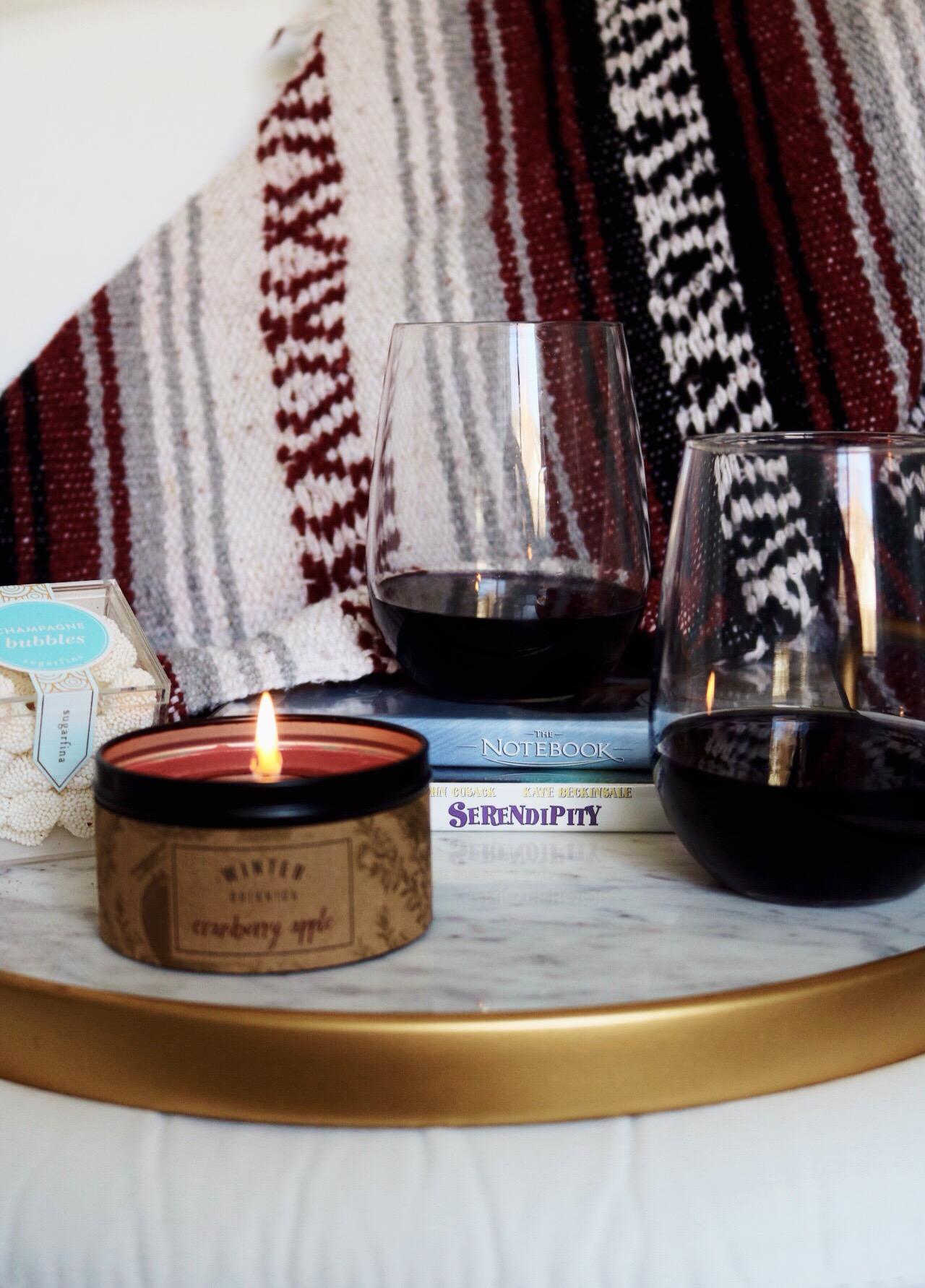 Serendipity, The Notebook, Stemless Wine Glass, WorldMarket Serving Tray, Sugarfina,