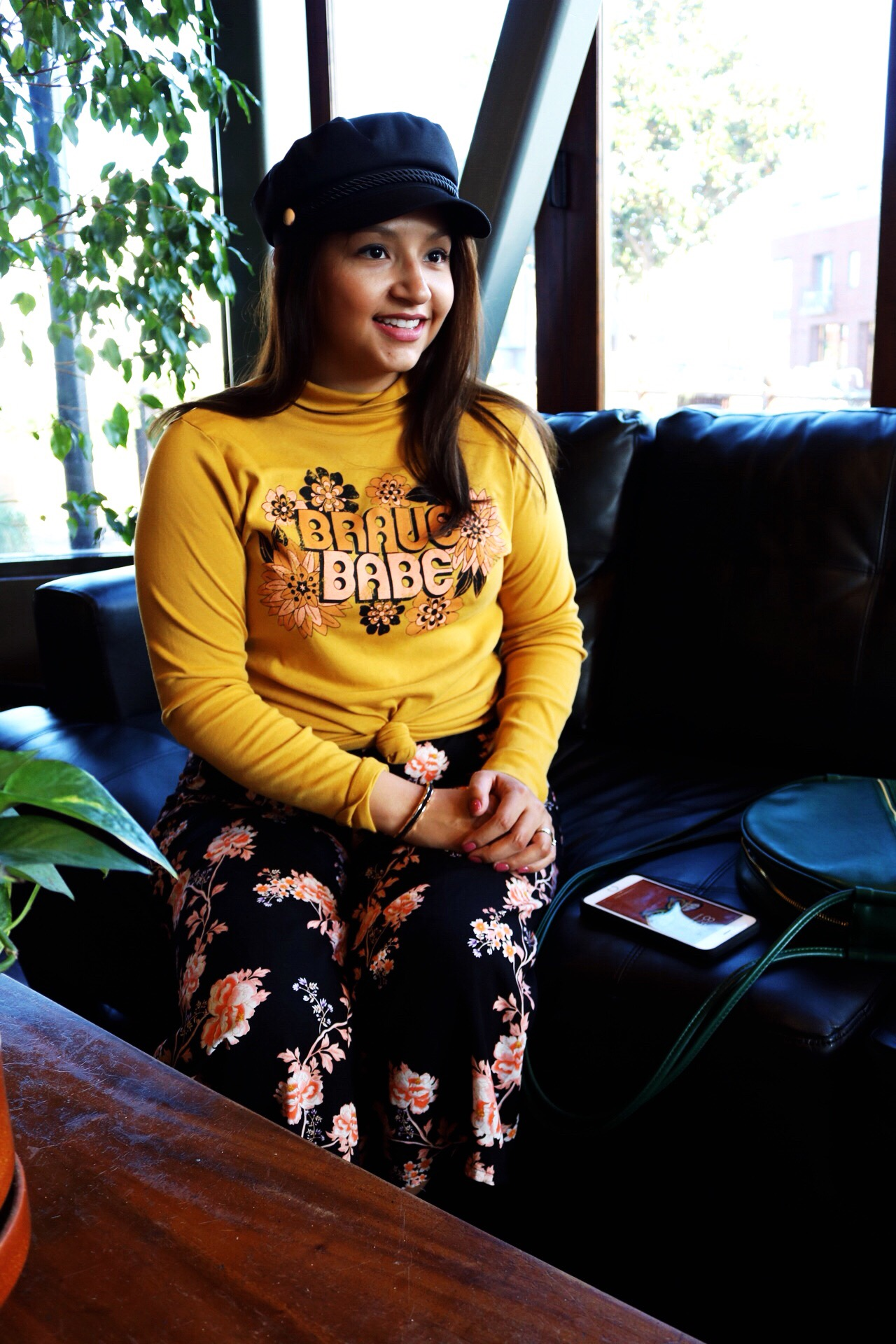 Dazey_LA feminist t-shirt Brace Babe t-shirt camel wide brim fedora Black and gold Ban.do BFF bag Yellow bug Floral pants coffee house