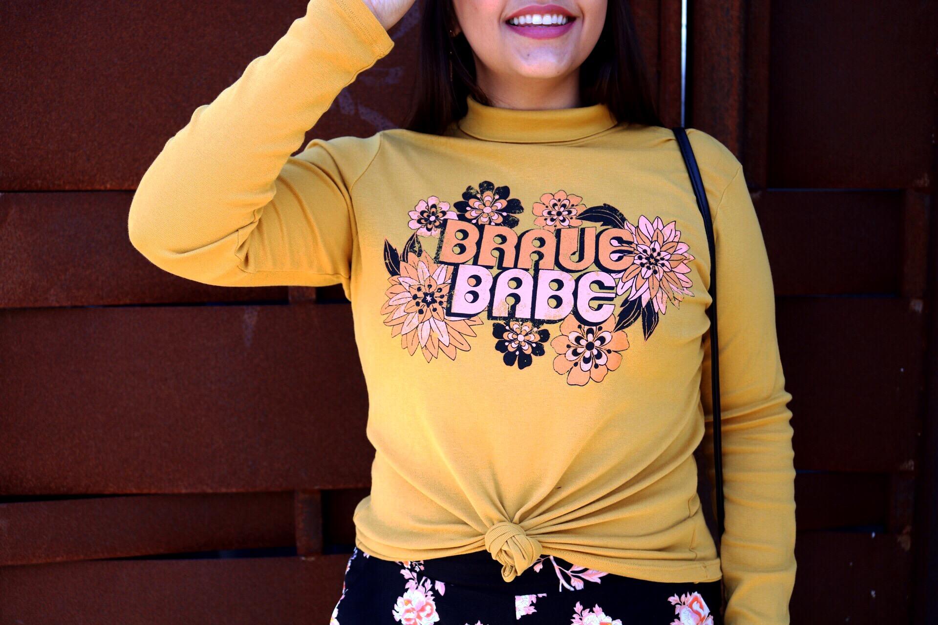 Dazey_LA feminist t-shirt Brace Babe t-shirt camel wide brim fedora Black and gold Ban.do BFF bag