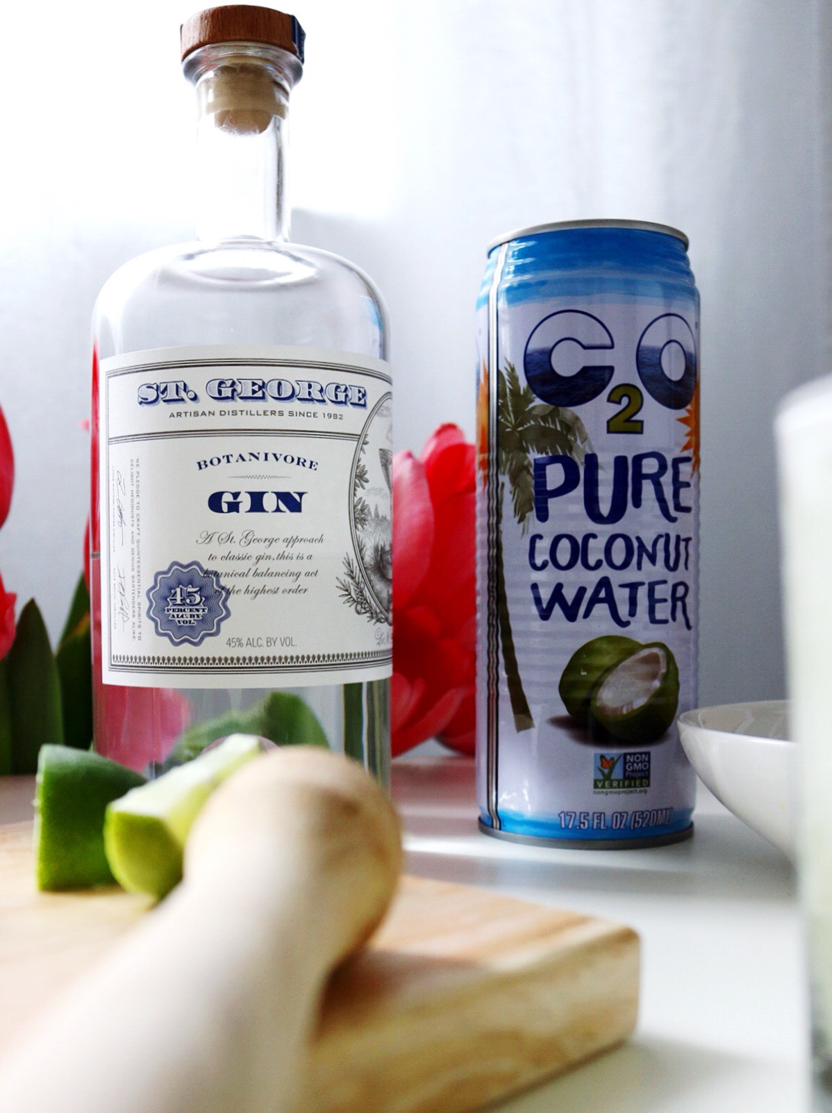 St. George Gin C20 Coconut Water Cocktail Muddled Lime and Mint