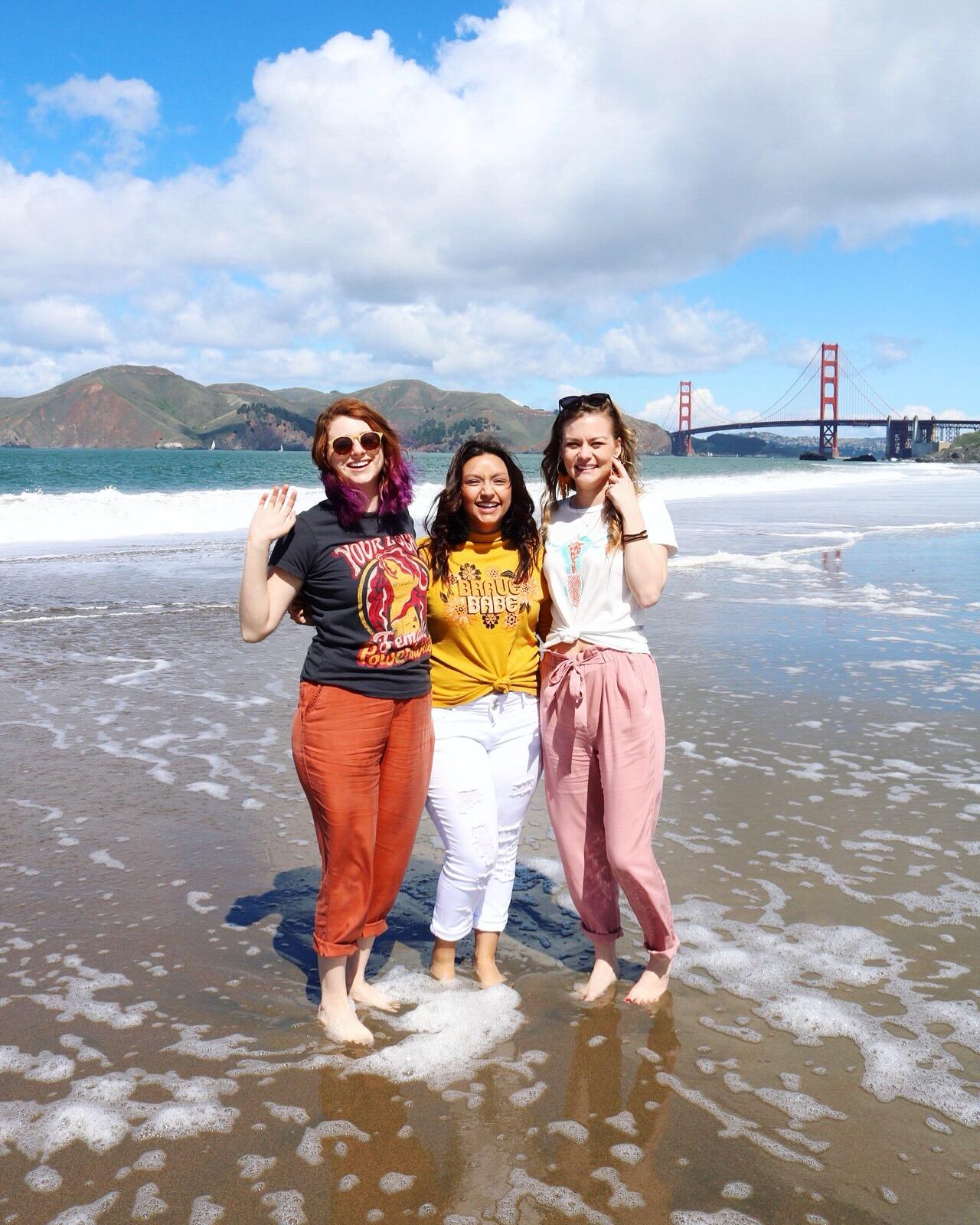Ocean Beach Day Girls Day San Francisco Golden Gate Bridge Dazey_LA H&M Forever 21 Pink Pants White Denim Orange Pants