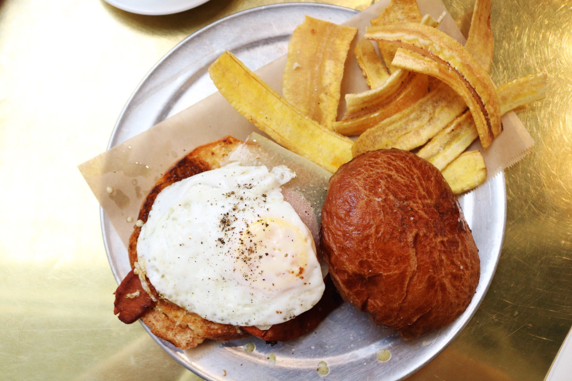 Cuban Style breakfast sandwich with plantain chips