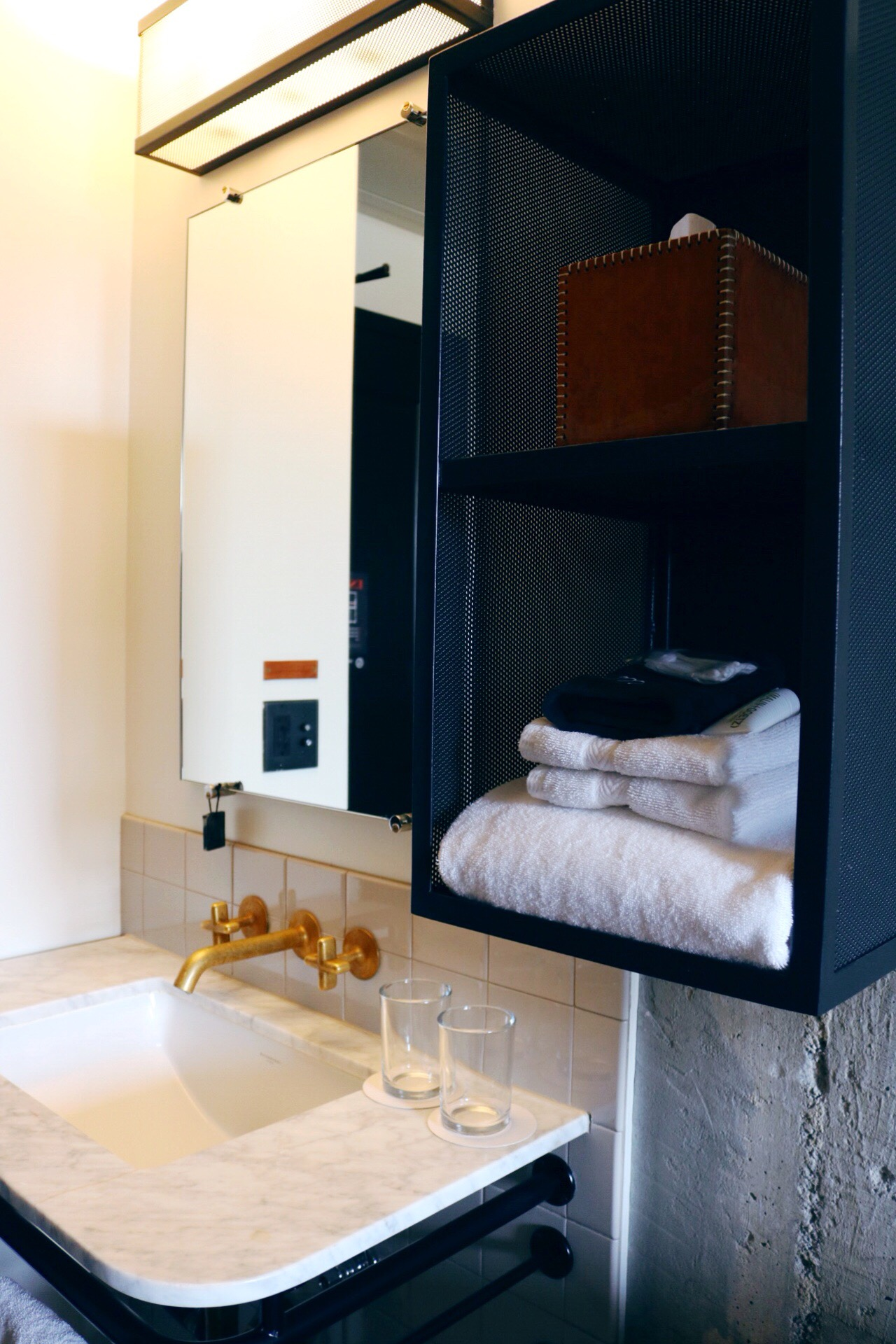 Bathroom details at Ace Hotel Downtown LA