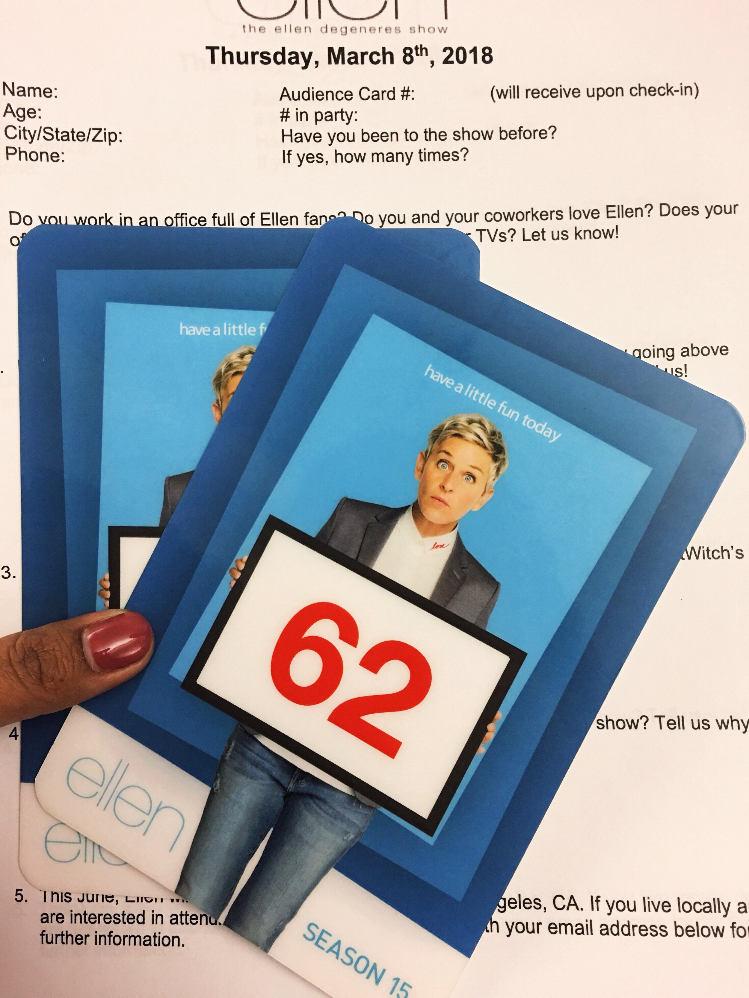 "The Ellen Show audience member season 15 ""Have a little fun today"""
