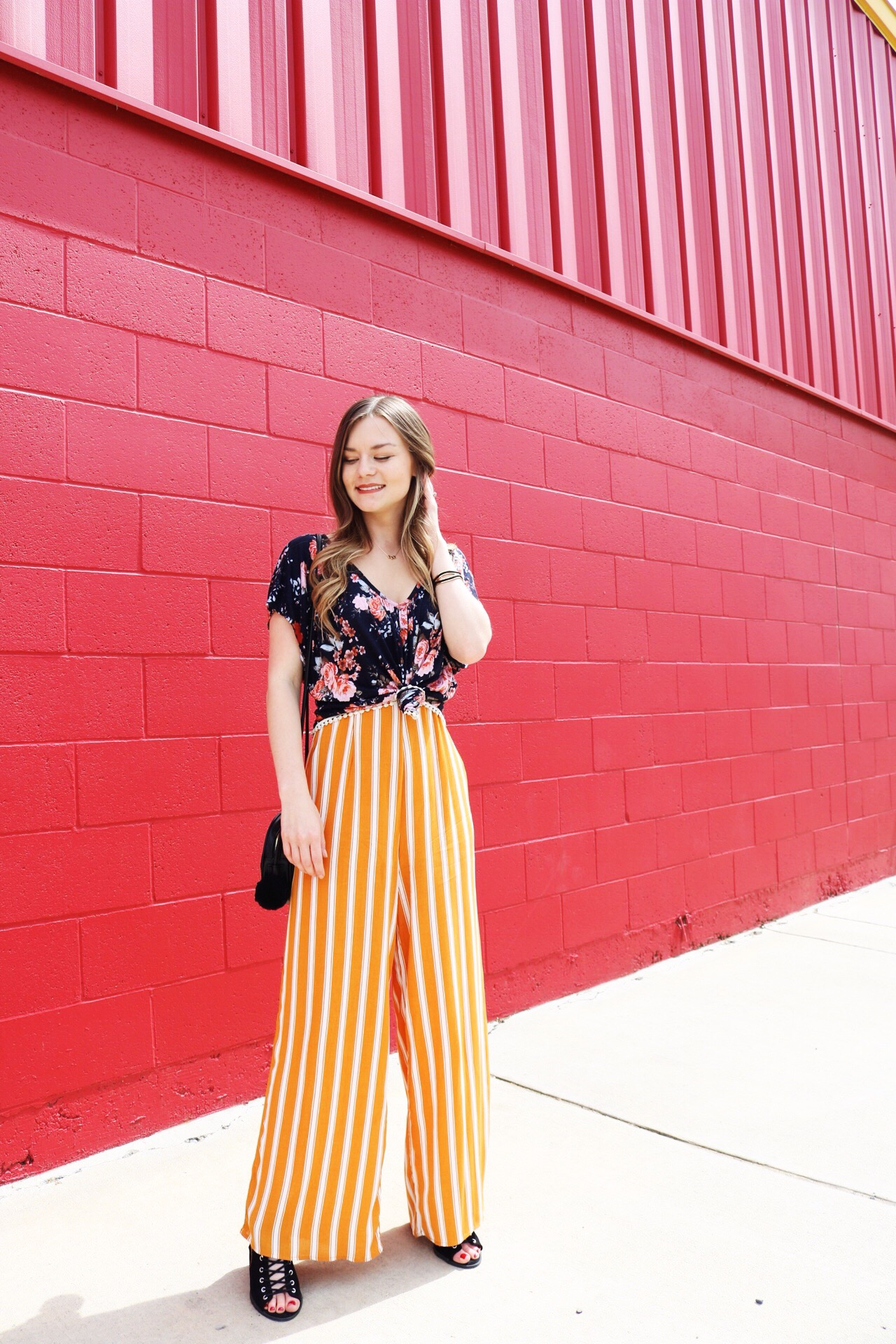 Yellow striped jumpsuit with open toed wedges. How to turn a jumpsuit into a different outfit.