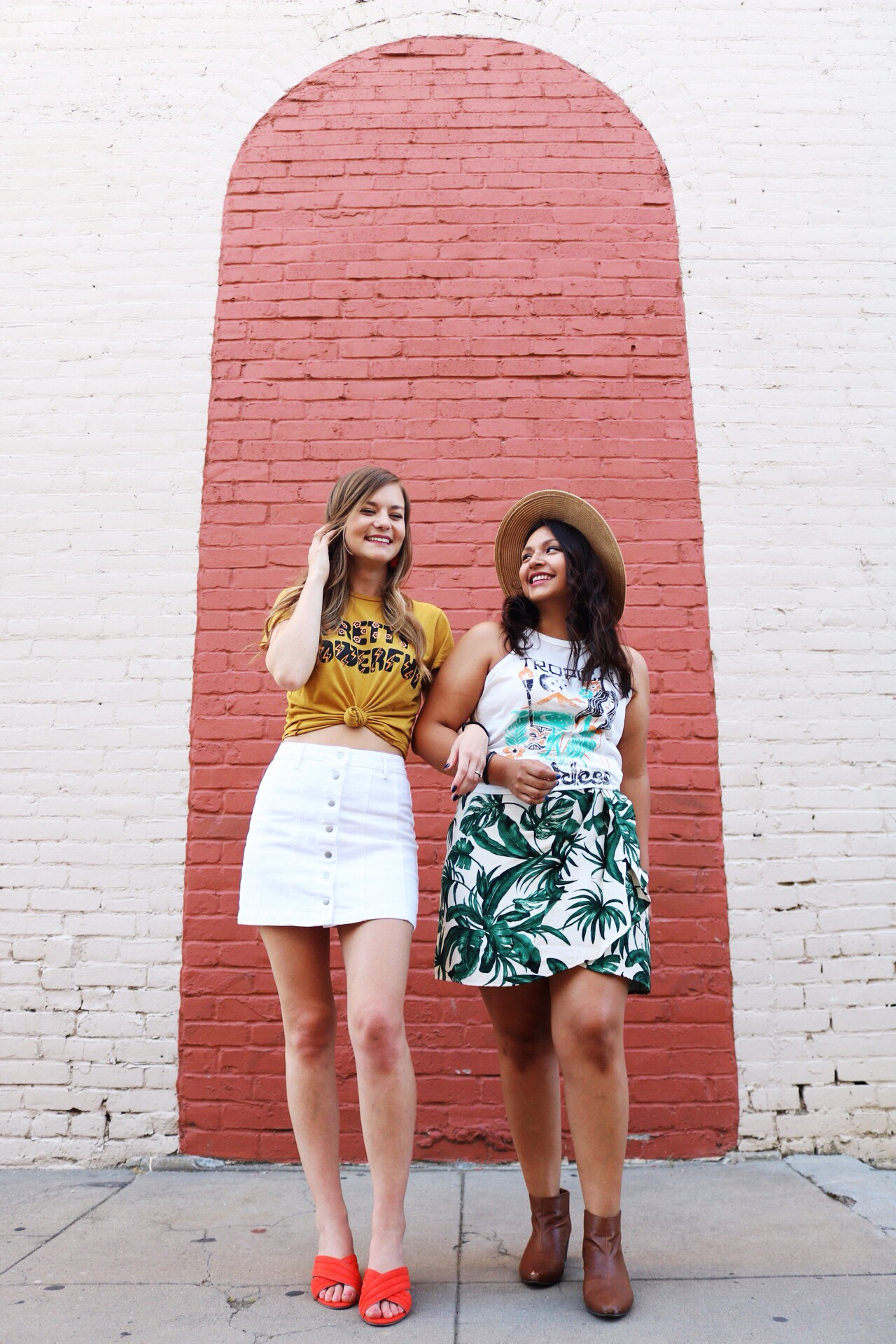 Summer fashion inspired by feminist company Dazey L.A. Mini skirts and and graphic tees