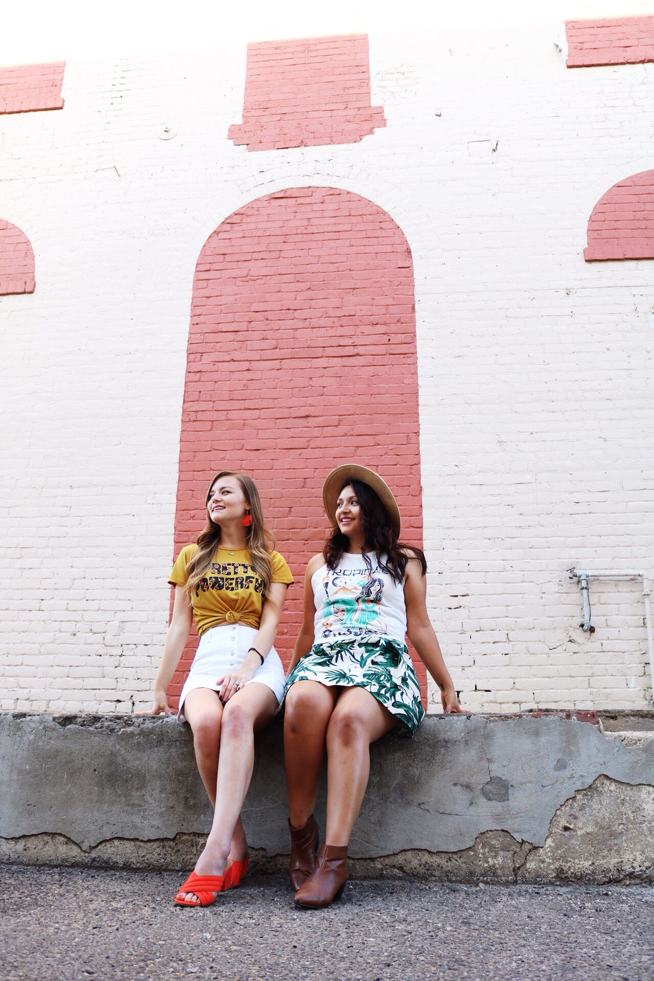 Dazey L.A graphic tees/ Summer fashion graphic tees and mini skirts paired with bright colored accessories