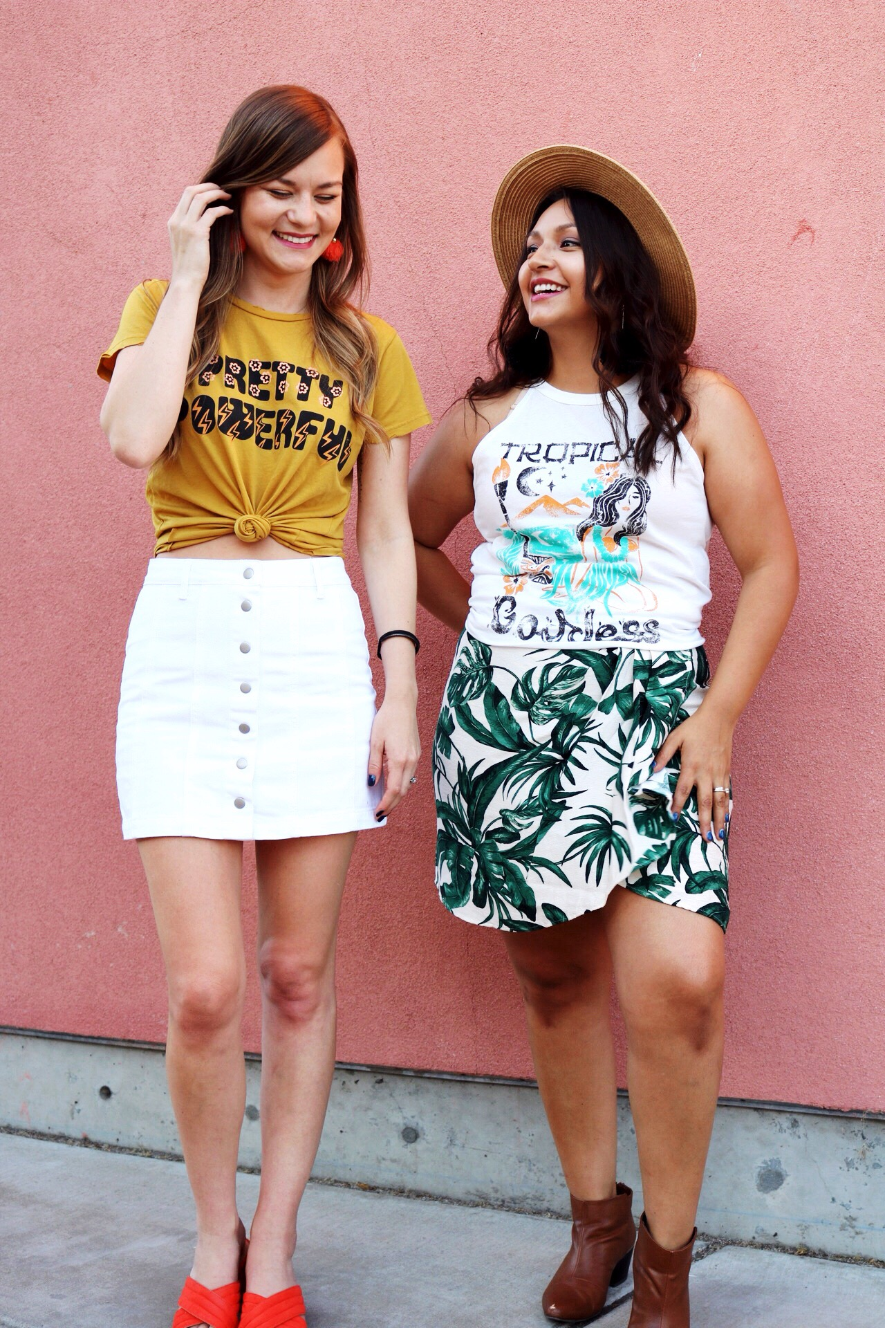 National Best Friend Day/ Summer Fashion includes graphic tees and mini skirts