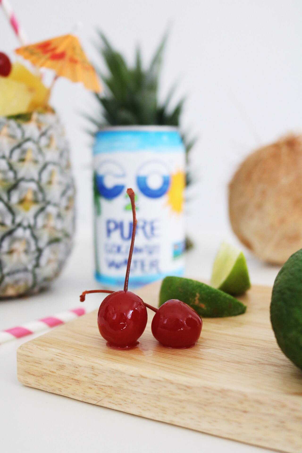 Every good piña colada has multiple garnishes. Like these maraschino cherries and lime wedges!