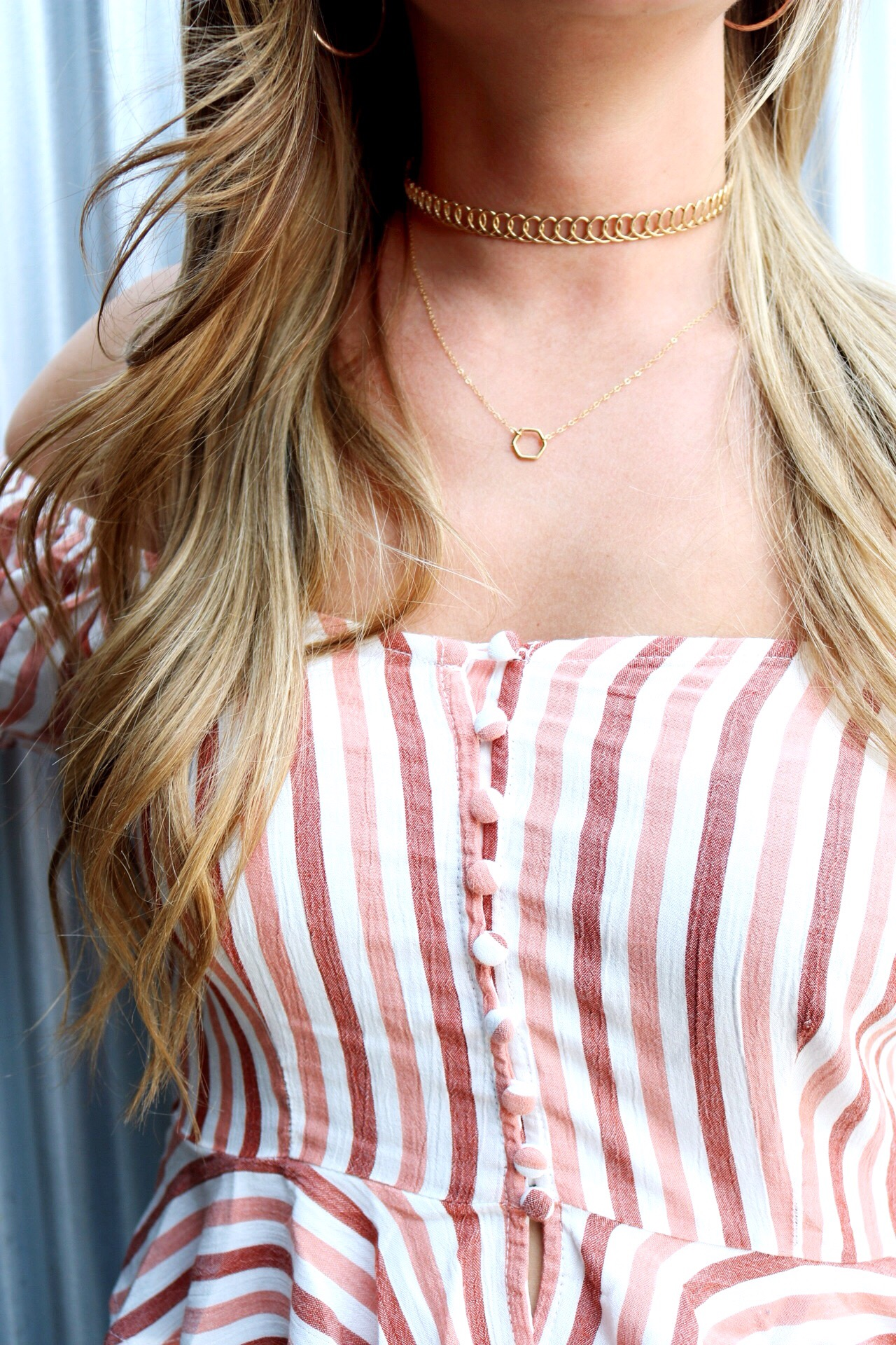 Vertical Striped Blouse, Manitoba Canada, Dainty Gold Jewelry, Hexagon Necklace, Chain Choker, Layering Necklaces