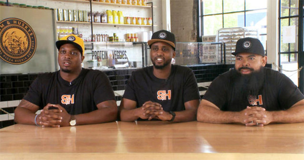 Clint Gray, EJ Reed, and Derrick Moore, owners of Slim & Husky's Pizza Beeria