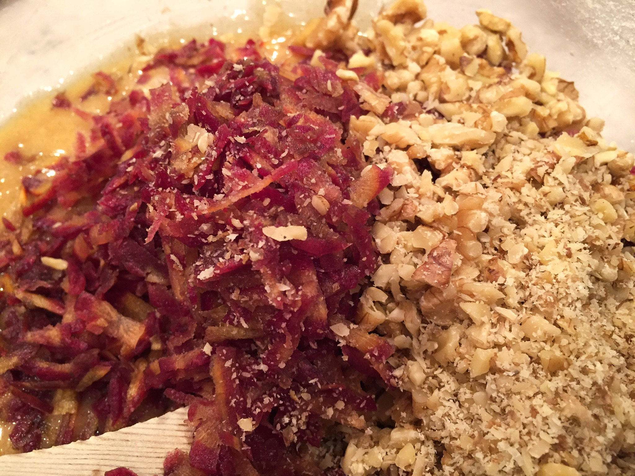 Grated purple carrots and chopped walnuts