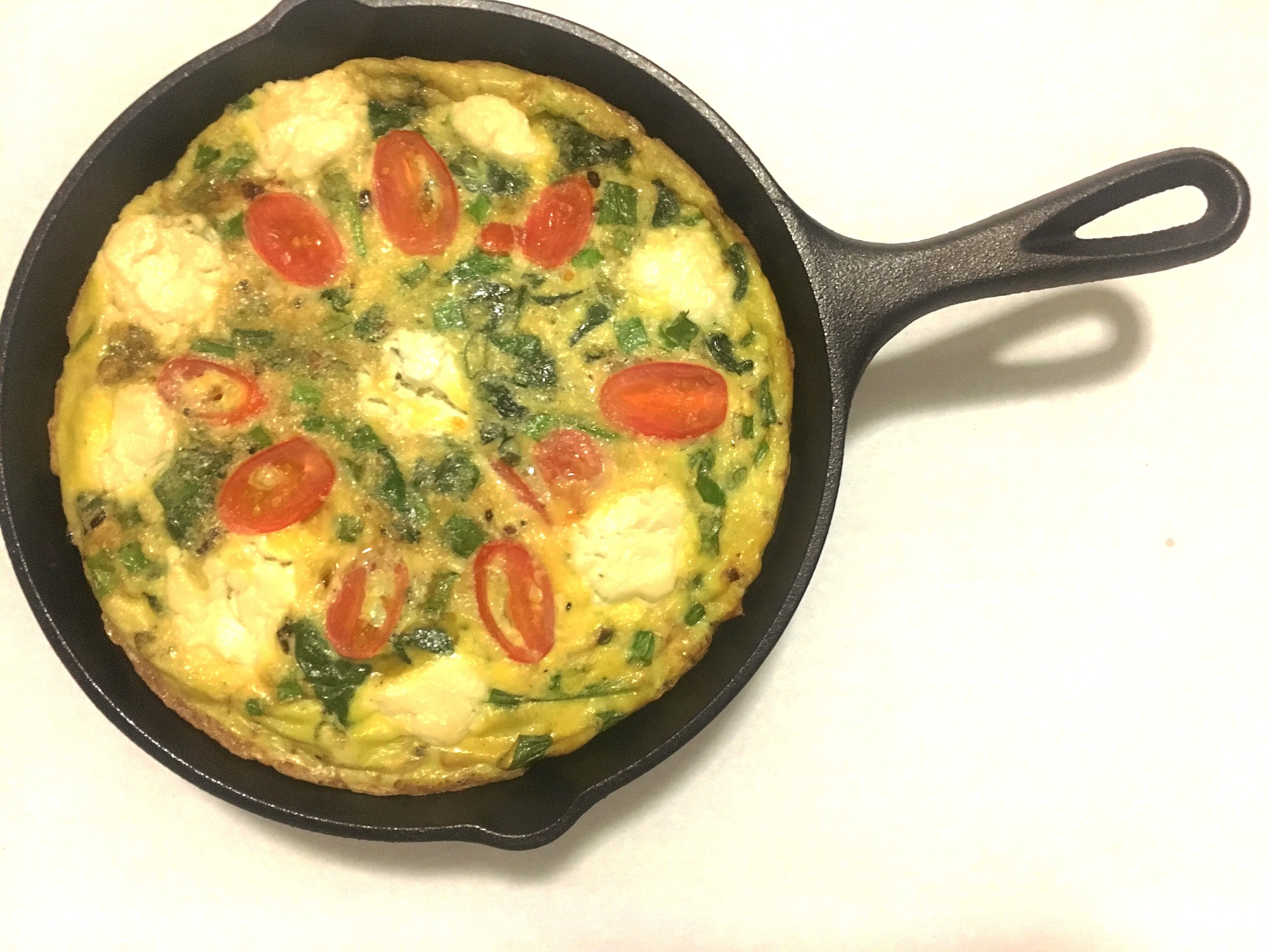 tomato, spinach and goat cheese frittata