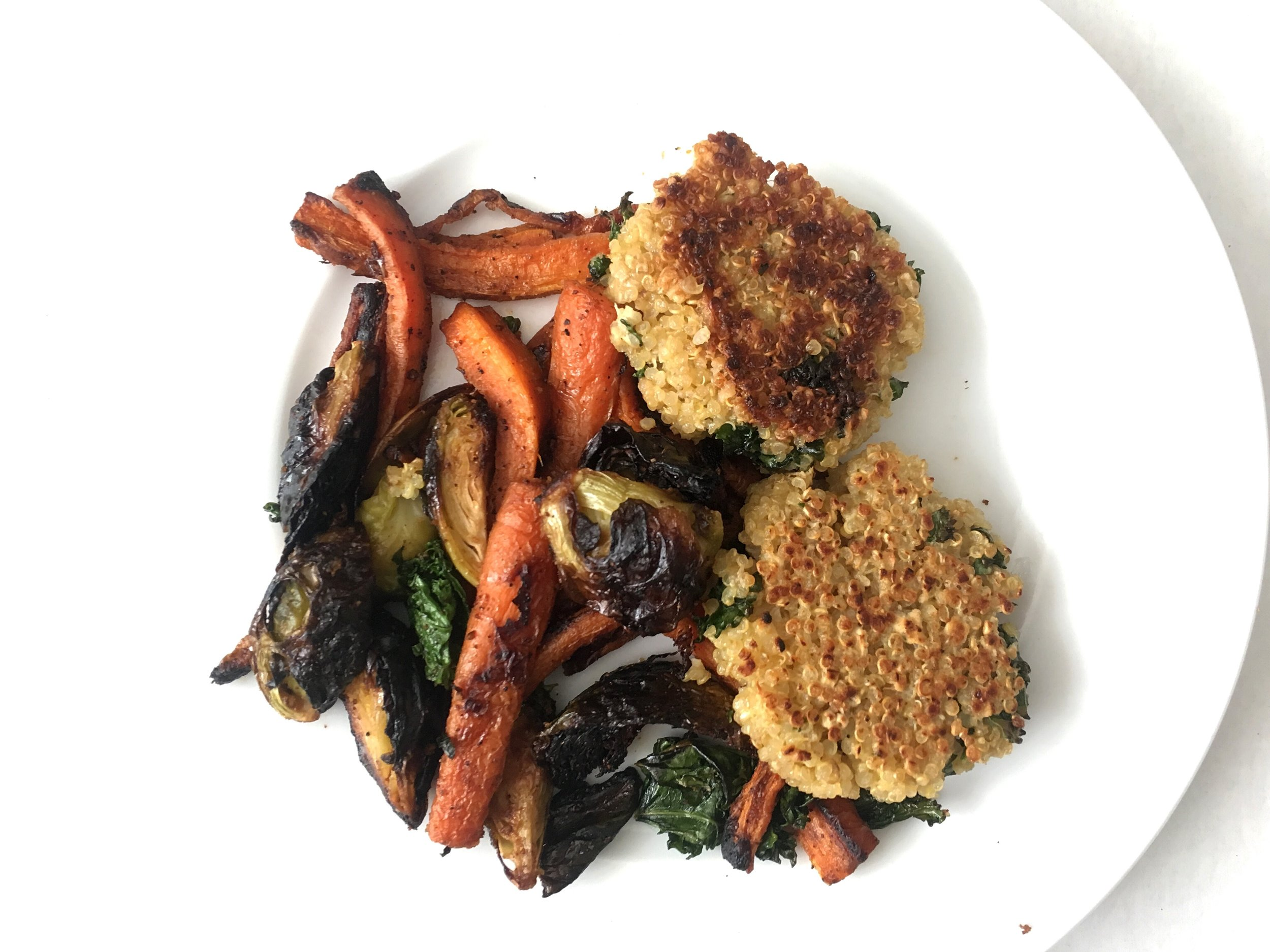 quinoa patties and roasted vegetables