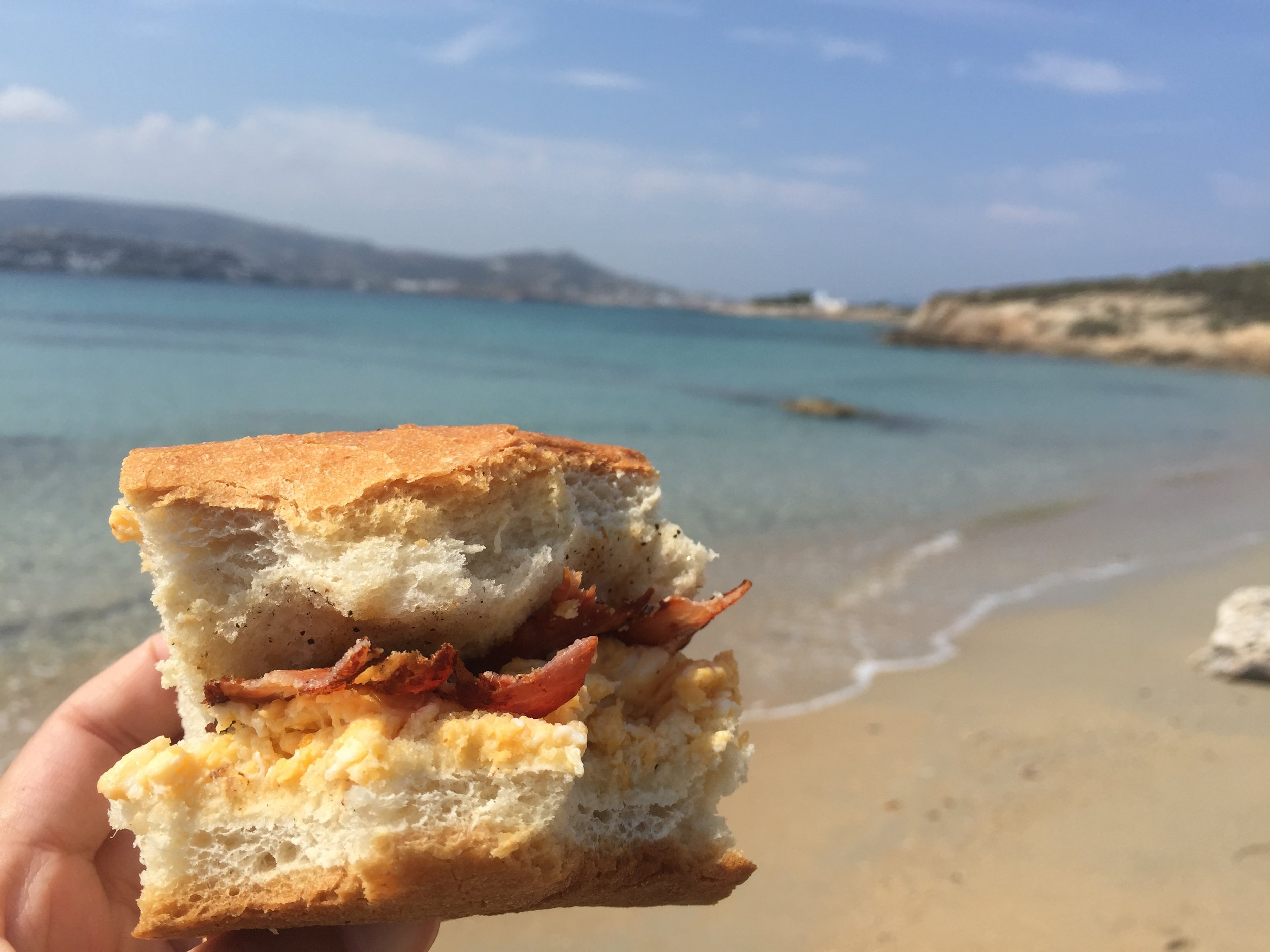 Bringing our own breakfast sandwiches to the beach :)