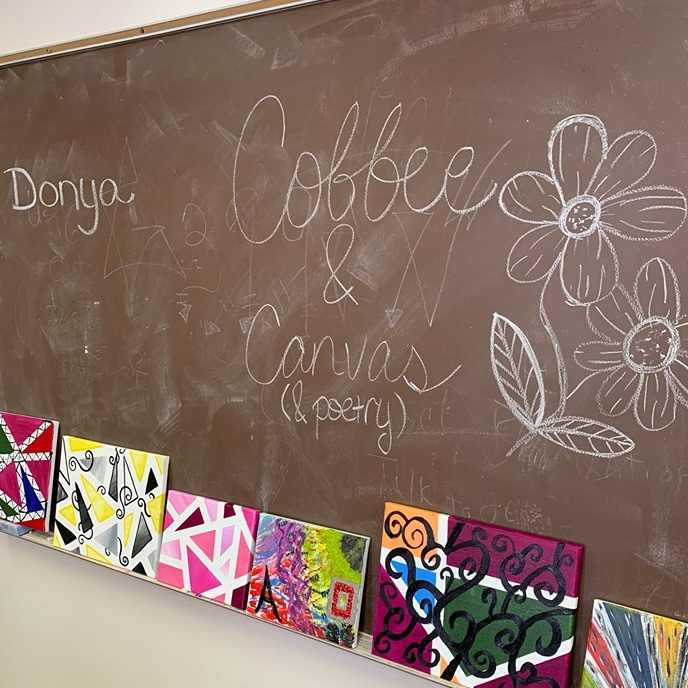 Coffee and Cavas at The Main Place with Donya from Little Arrow Cafe... come and join us the last Wednesday of the month at 4pm and let Donya guide you through creating your own masterpiece.
