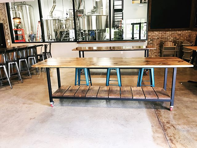 Reminded today of this great build for a local brewery. I can't wait for @linecreekbrewing to be up in running. This place is top notch! • • • #customtable #local #brewery #metal #fabrication #farmhouselook #rustic #interiordesign