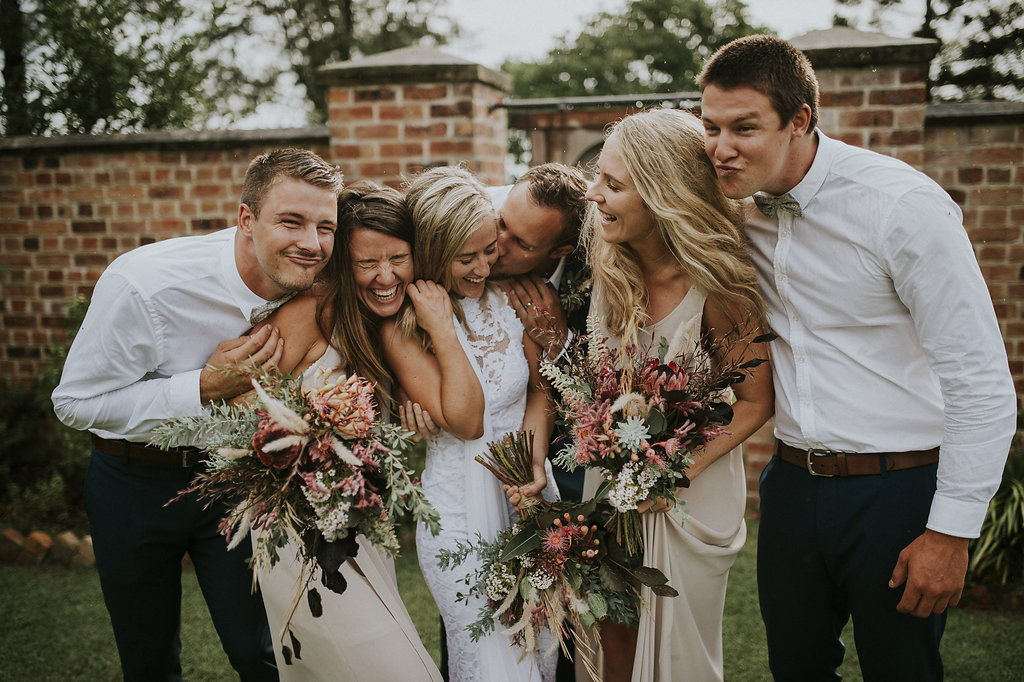 Lace incorporated perfectly in this relaxed wedding infused with natives and fun!