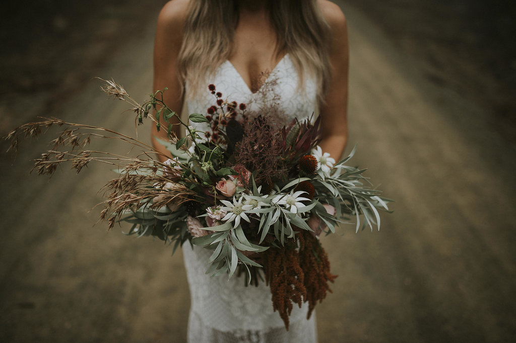 Grasses, natives and unique foliage colourings in this organic and natural bouq!