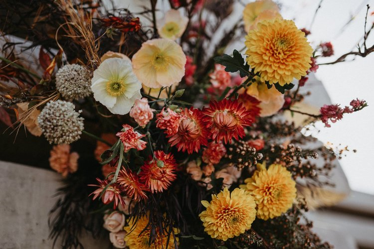 beautiful floral display with autumnal tones