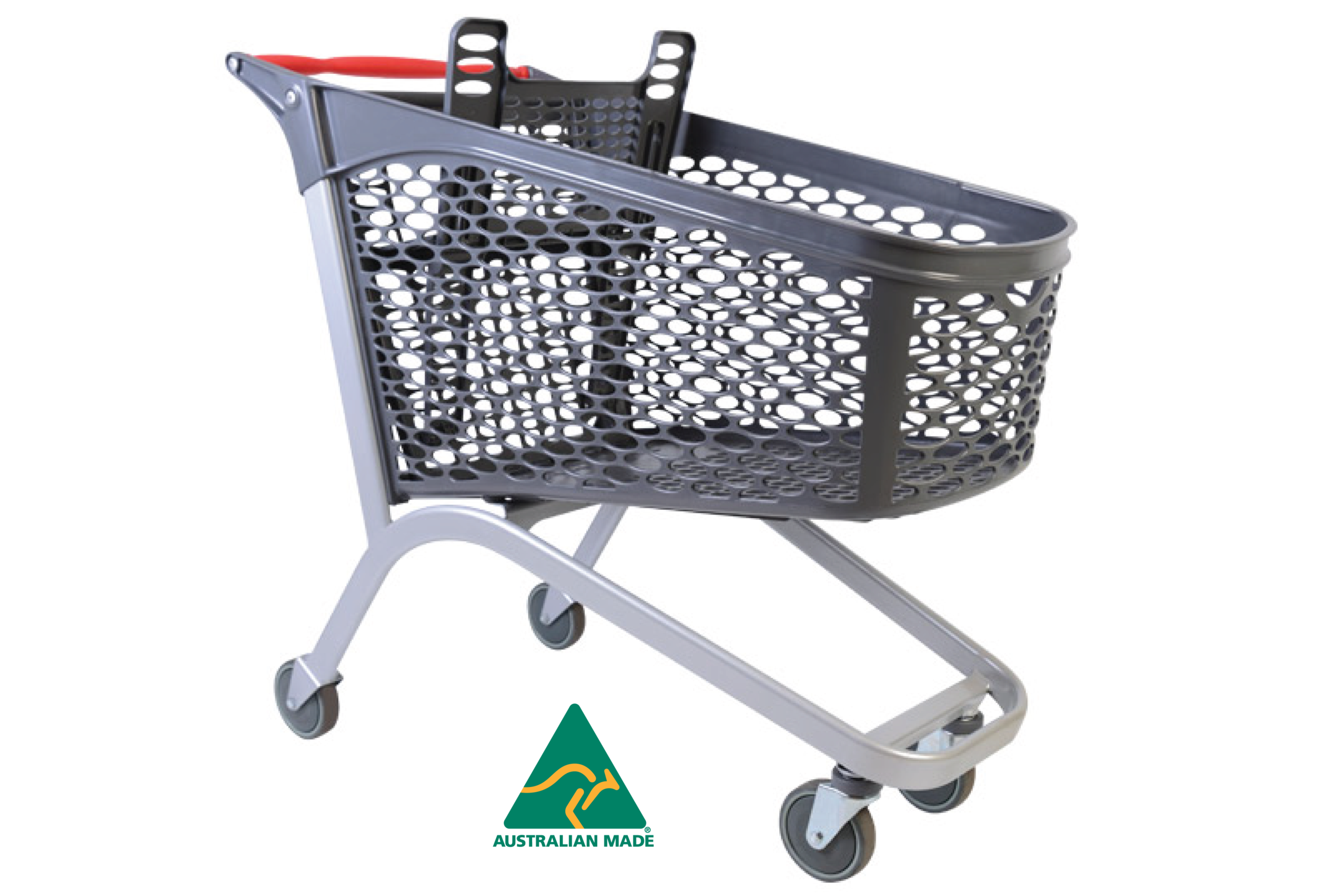 Made in Australia from 100% recycled plastic.  International model shown with 2 fixed rear castors