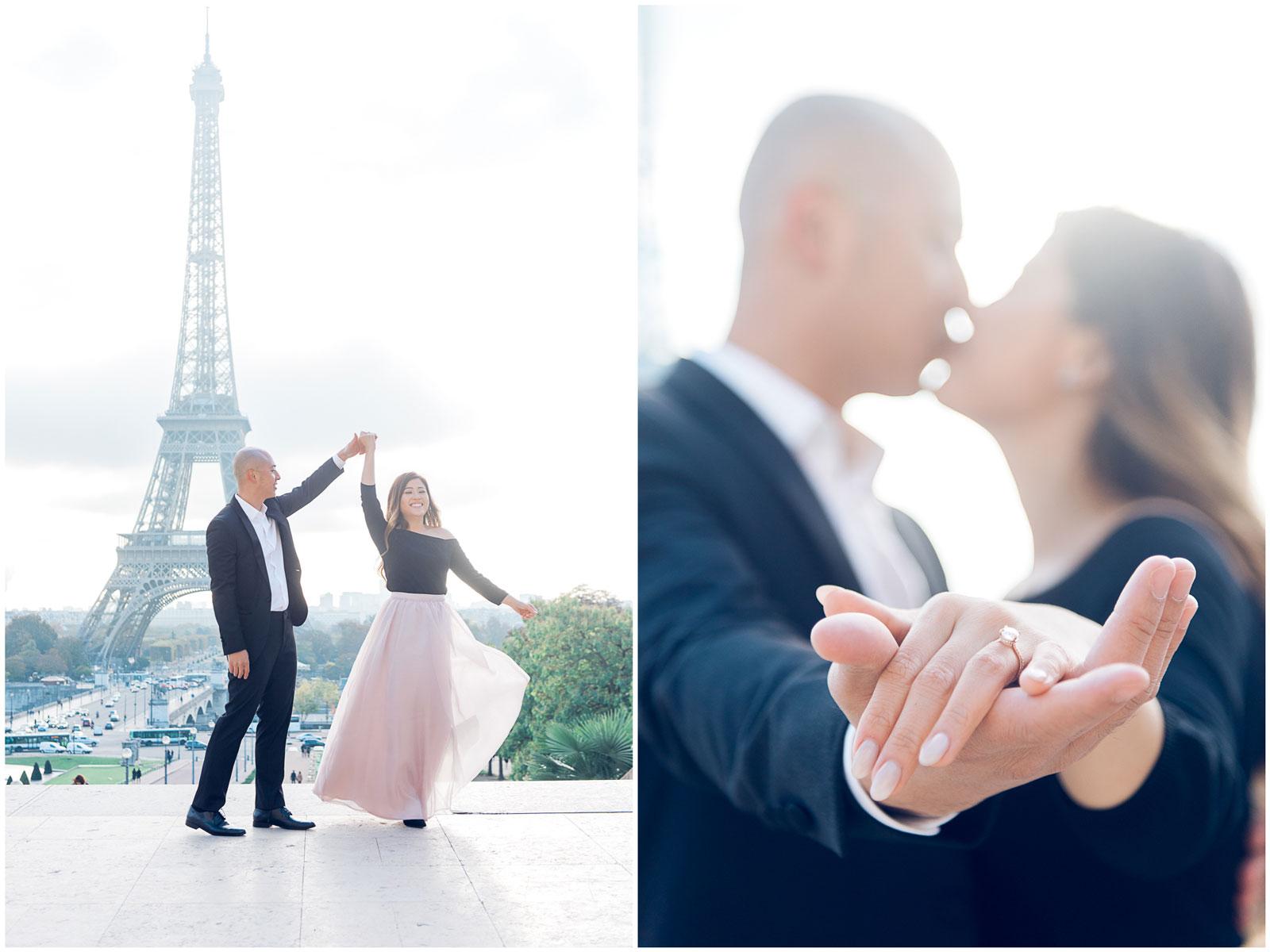 Paris engagement photographer - proposal photo shoot at the Eiffel Tower