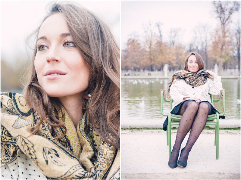 Portrait photo shoot in Paris by the big fountain of the Tuileries Gardens, Pure and Elegant.