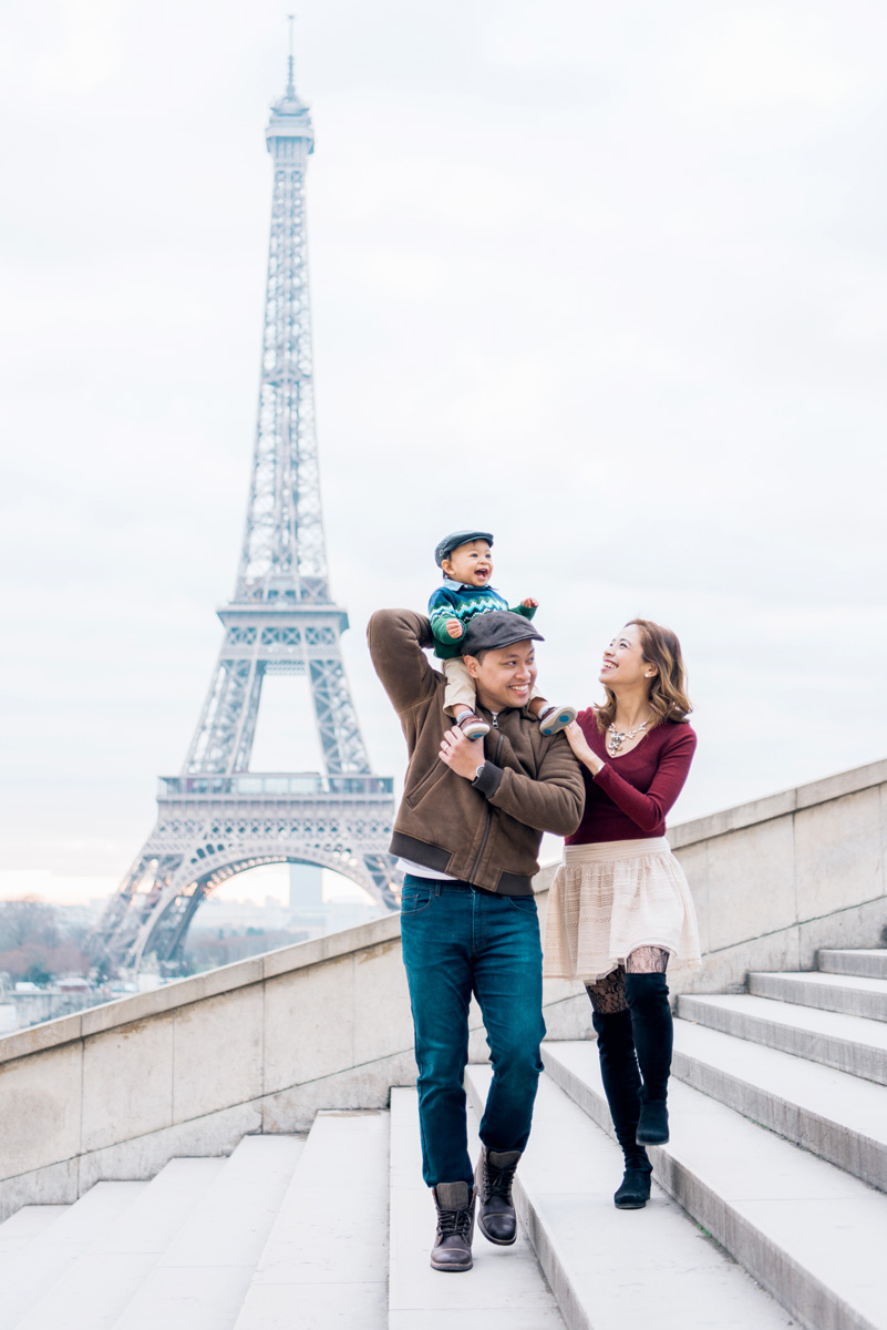 Photographer in Paris - Family - fun with baby near the Eiffel Tower