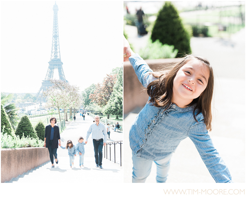 Paris Family photo shoot in front of the Eiffel Tower by Tim Moore