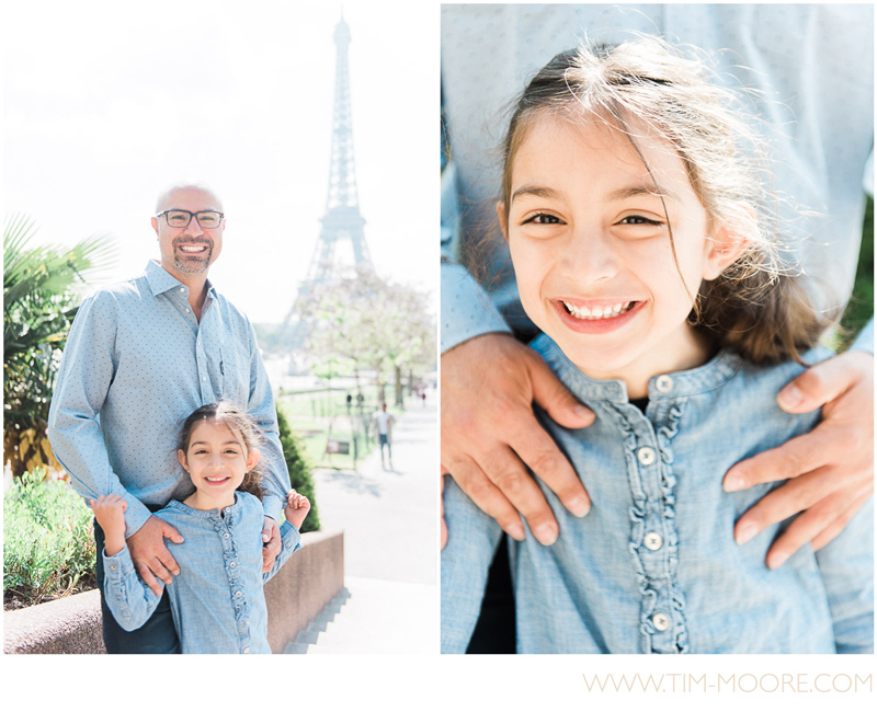 Paris family photo session - Father and daughter having fun in Paris while discovering the Eiffel Tower