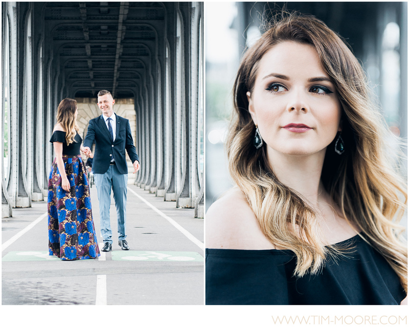 Gorgeous photo shoot in Paris on the Bir-Hakeim bridge with Carina and Vladimir