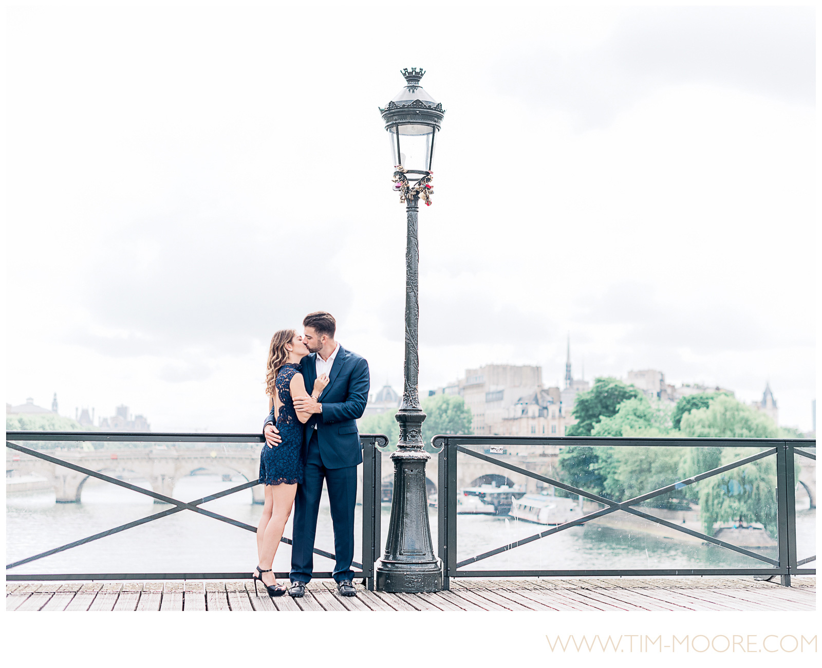 Paris photographer Tim Moore - Rosy and Kenny enjoying spring time just after she said Yes during their Paris proposal photo shoot