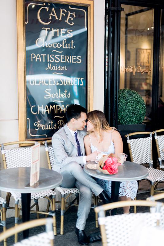 paris engagement photographer - photo shoot in a cute little parisian cafe