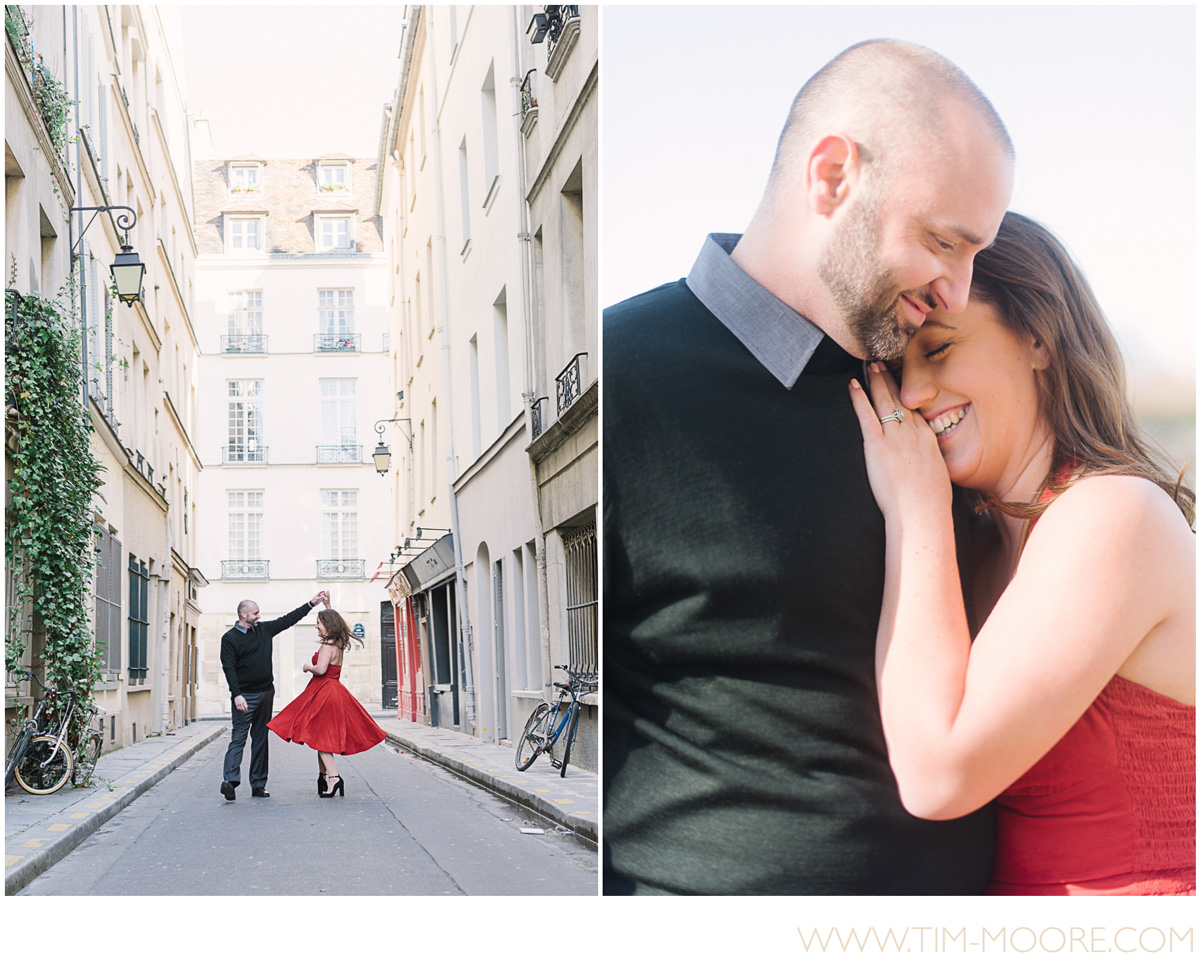 Paris photographer Tim Moore - Our beautiful couple from the United States enjoying some intimate moments in the streets of Paris during their photo shoot