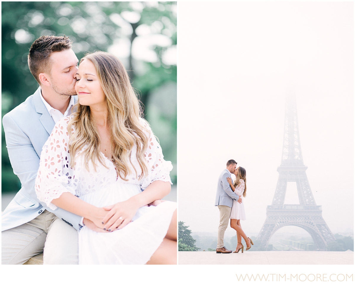 Paris photographer - couple photo shoot celebrating love in front of the Eiffel Tower in Paris